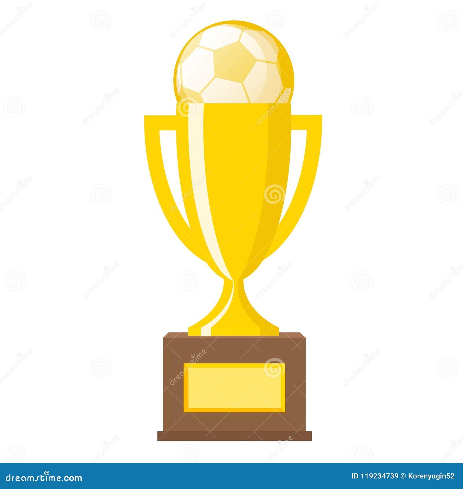 Van de de voetbalbal van de winnaar de gouden trofee gouden vlakke vectorpictogrammen voor spor