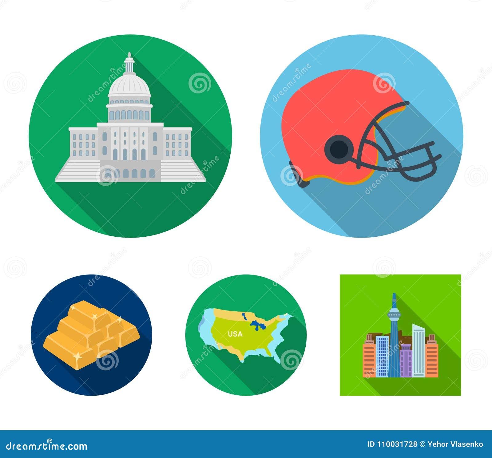 Van de van voetbalster` s helm, capitol, van het grondgebied kaart, gouden en deviezen Vastgestelde de inzamelingspictogrammen va