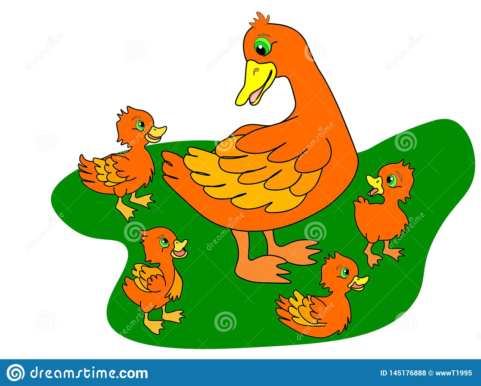 Van de Webeendjes en moeder eend Eendenfamilie, eendje na mamma en lopende de kuikensgroep van de wilde eendbaby