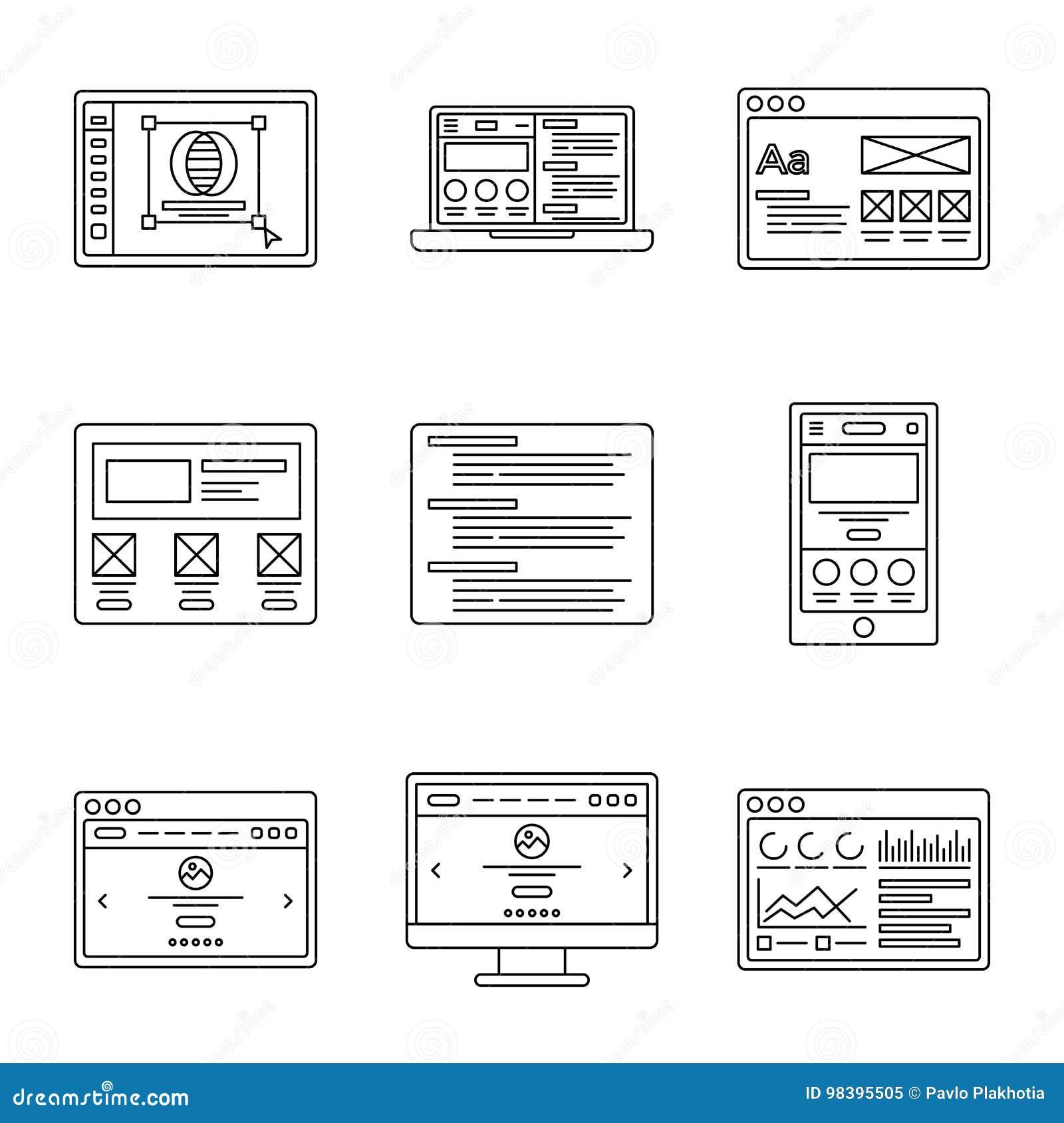 Van de Webontwikkeling en wireframes lijn geplaatste pictogrammen Inzameling van overzichtsillustraties voor website of het malpl