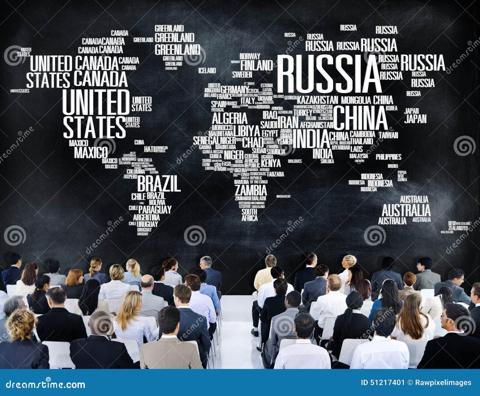 Van de Wereld Internationale Landen van Rusland de Globale Globalisering Concep