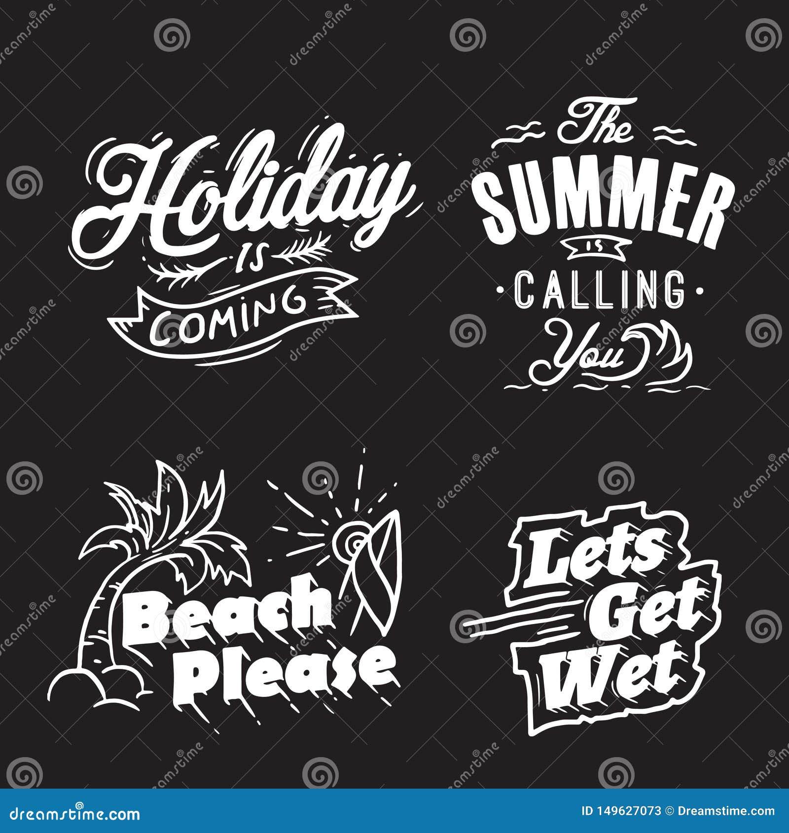 Van de de zomertypografie en vakantie woorden