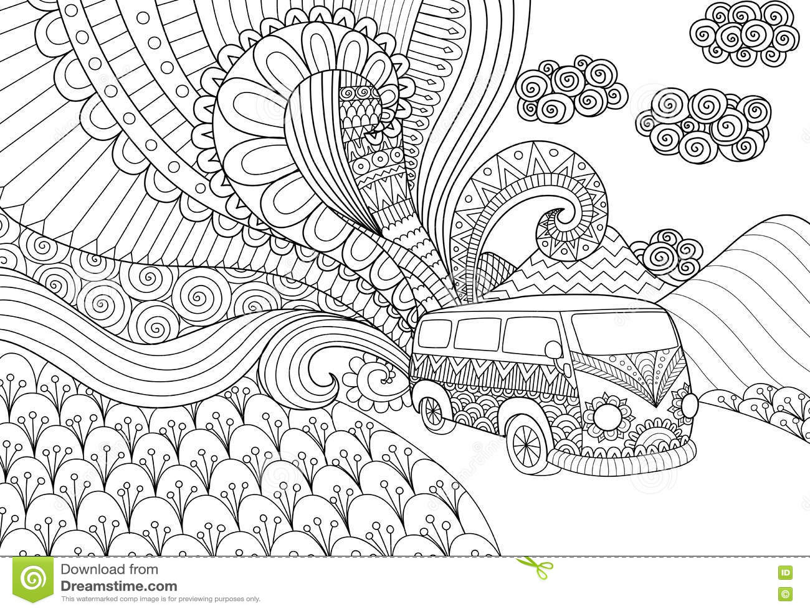 Doodles design of piano for coloring book for adult for Disegni da colorare paesaggi marini