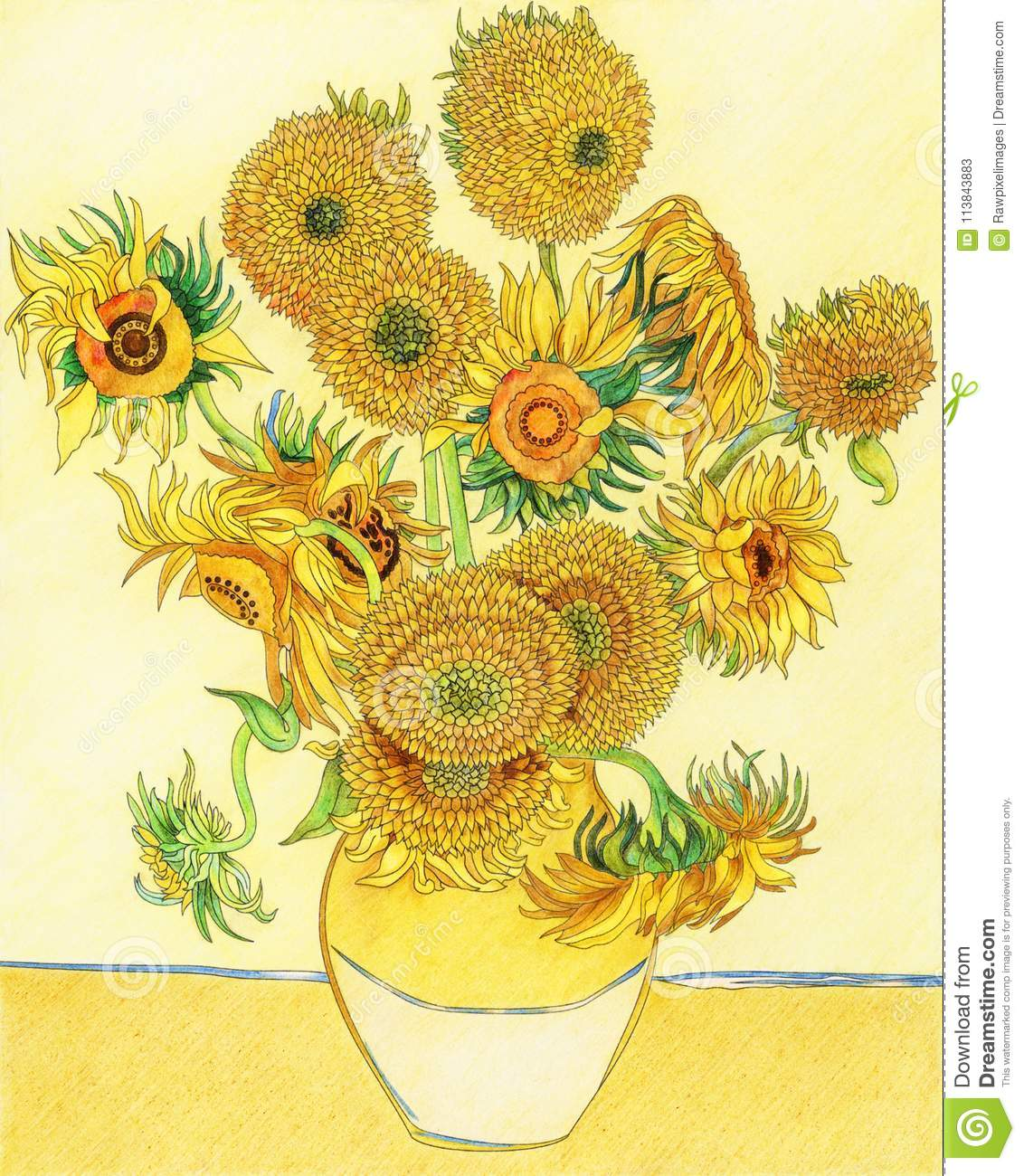 Van Gogh S Sunflower Adult Coloring Page Stock Illustration Illustration Of Famous Page 113843883
