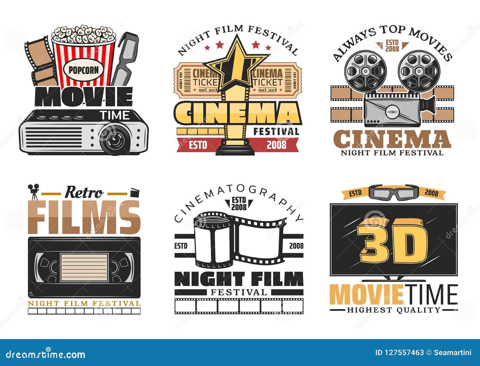 Van het bioskoopfilm en festival vector retro pictogrammen