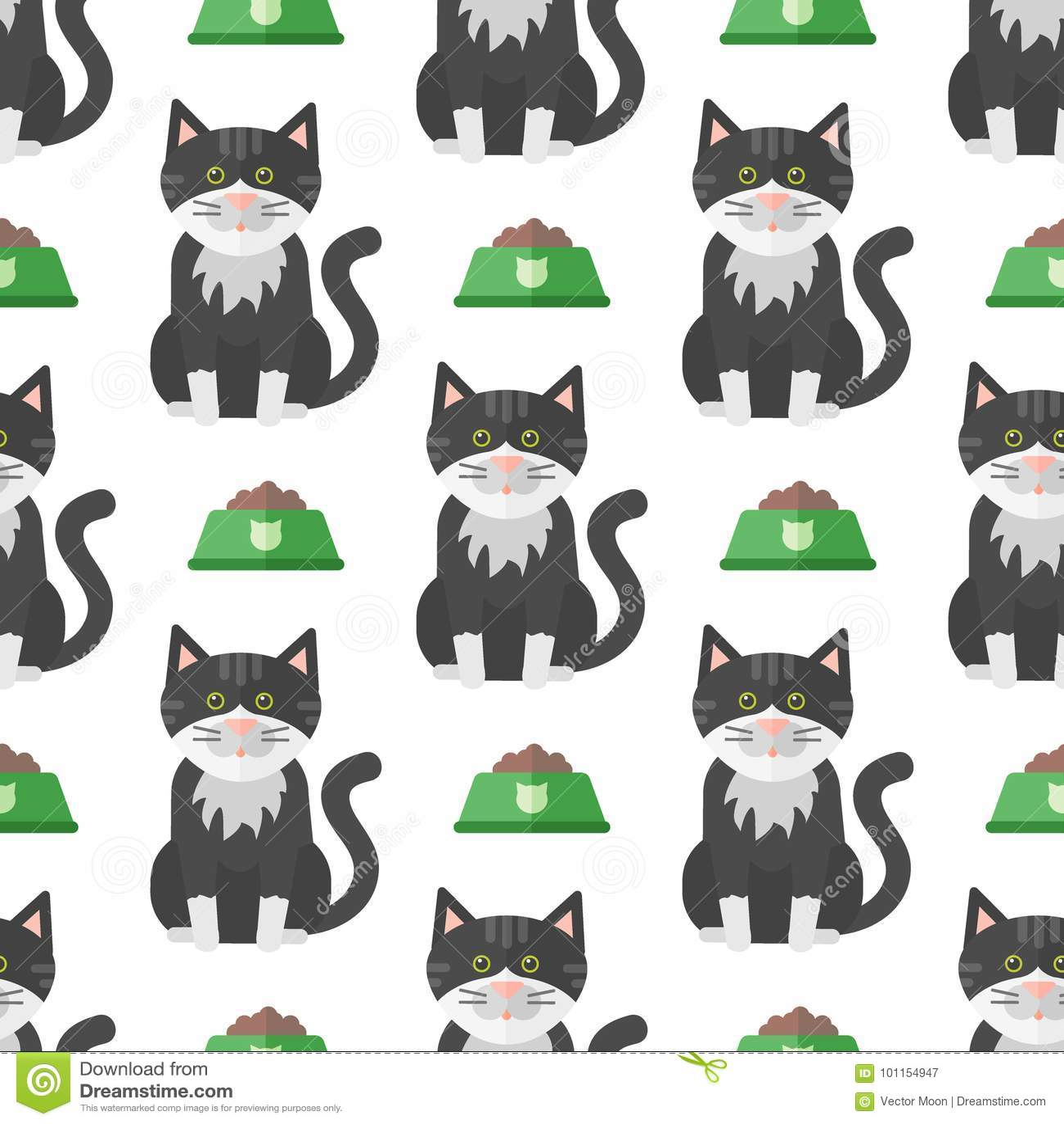 Van het de achtergrond illustratie leuk dierlijk grappig naadloos patroon van kattenhoofden vectorkarakters katachtig binnenlands