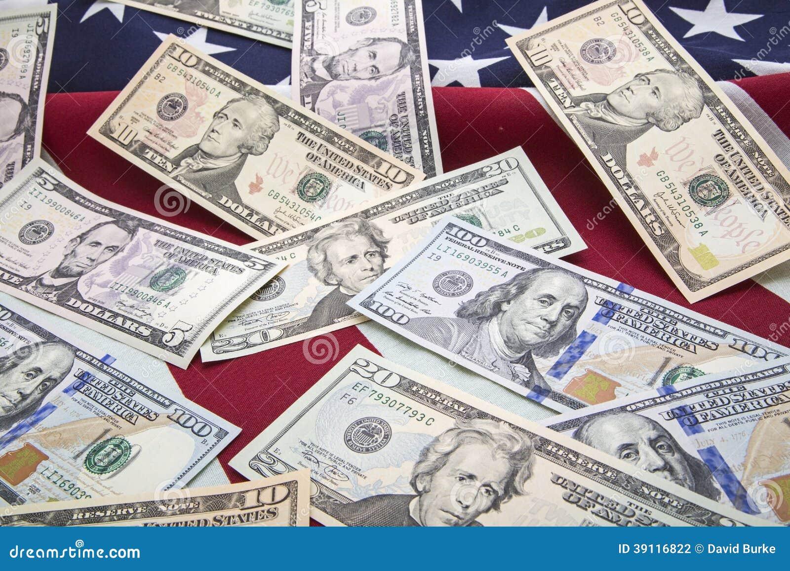 Van het de bankbiljettengeld van de V.S. de vlagachtergrond