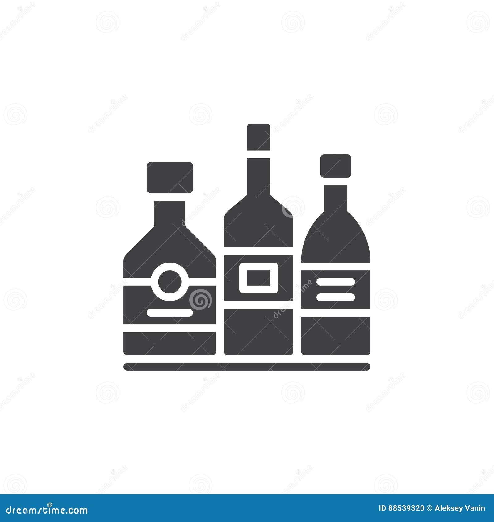 Van het de flessenpictogram van de alcoholdrank het vector, gevulde vlakke teken, stevig pictogram dat op wit wordt geïsoleerd