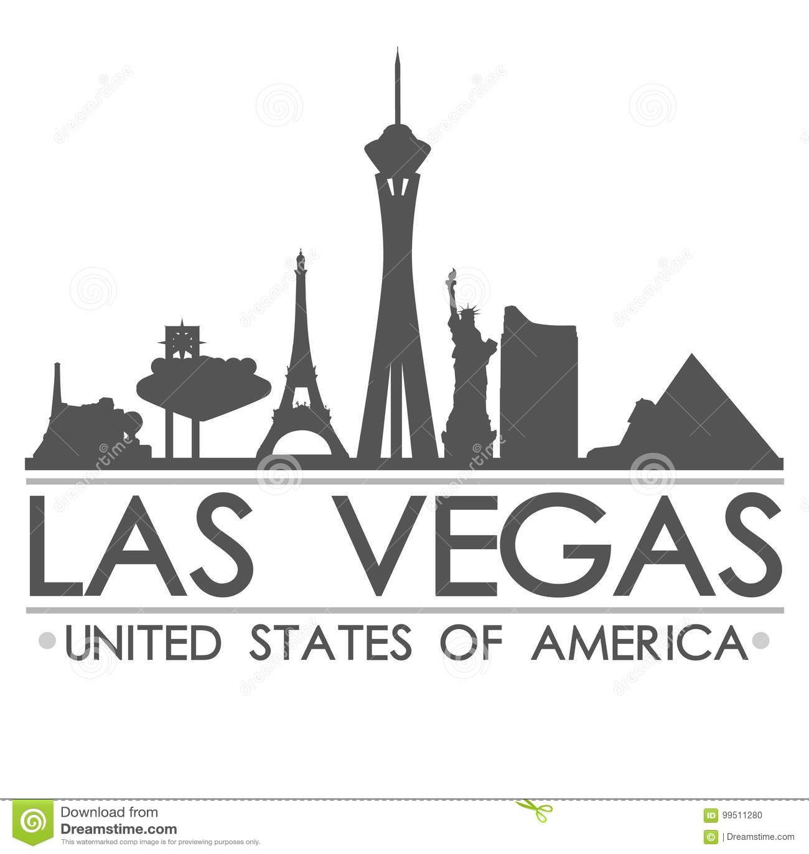 Van het de Horizonsilhouet van Las Vegas van de het Ontwerpstad het Vectorart.
