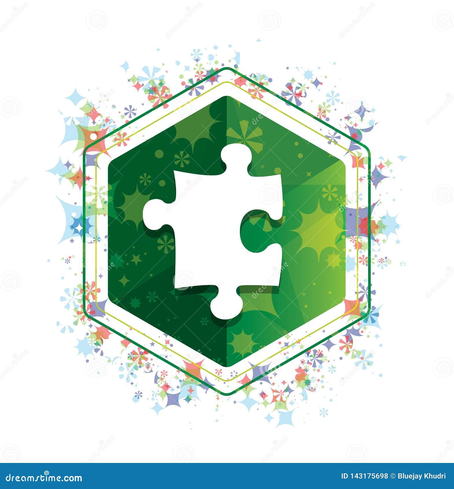 Van het de installatiespatroon van het raadselpictogram de bloemen groene hexagon knoop