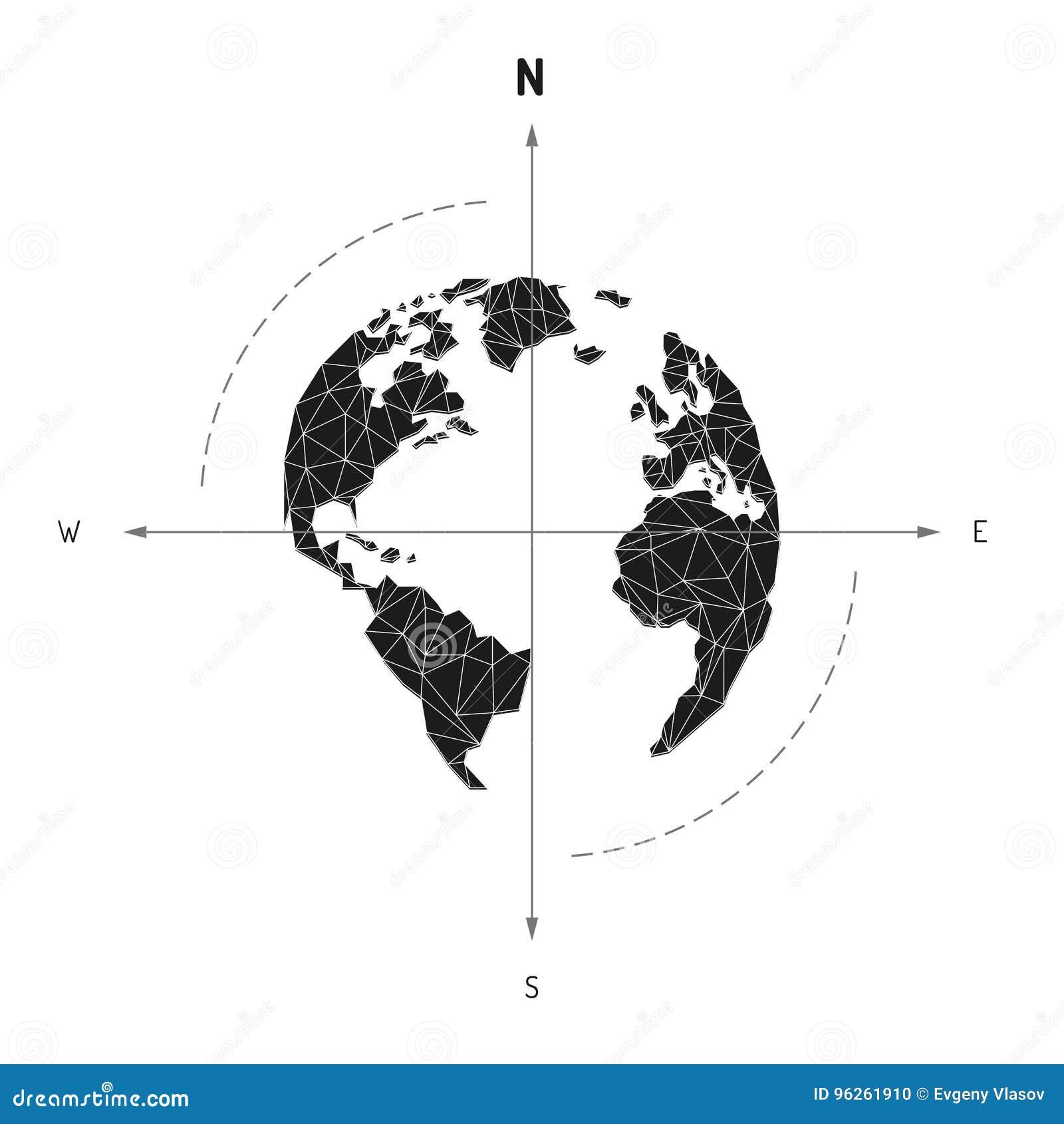 Van het de kaartkompas van de bolwereld de pijl zeevaartreis Amerika, Europa,