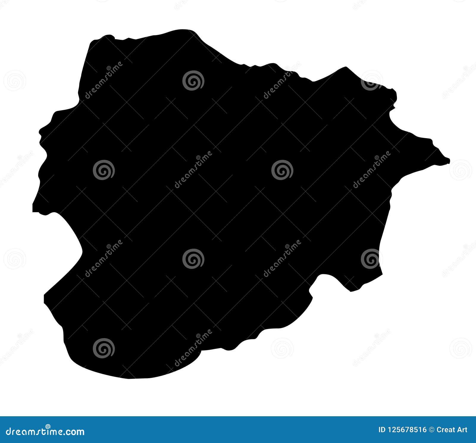 Van het de kaartsilhouet van Andorra de vectorillustratie