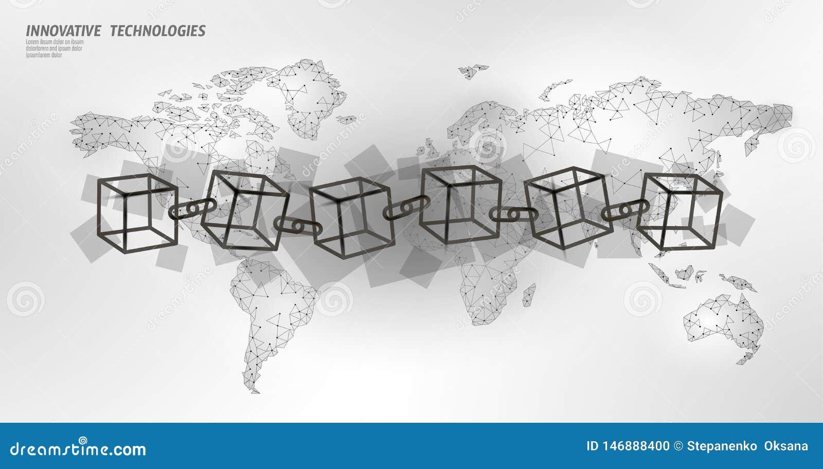 Van het de kettingssymbool van de Blockchainkubus de vierkante code Grote gegevens internationale stroom Witte aardekaart Cryptoc