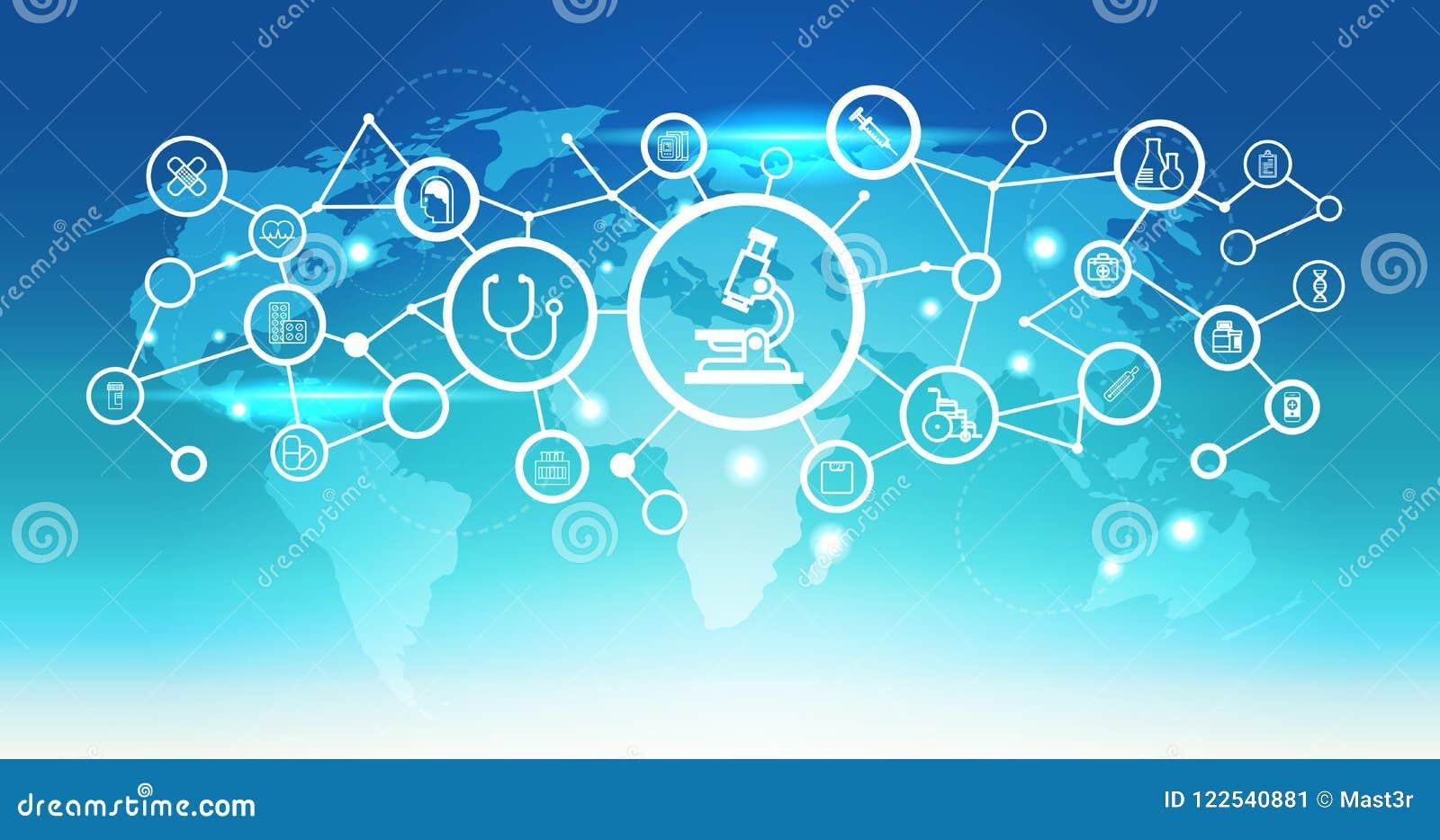 Van het de microscooppictogram van de wereldkaart futuristische van de de interface medische gezondheidszorg van de het netwerkve