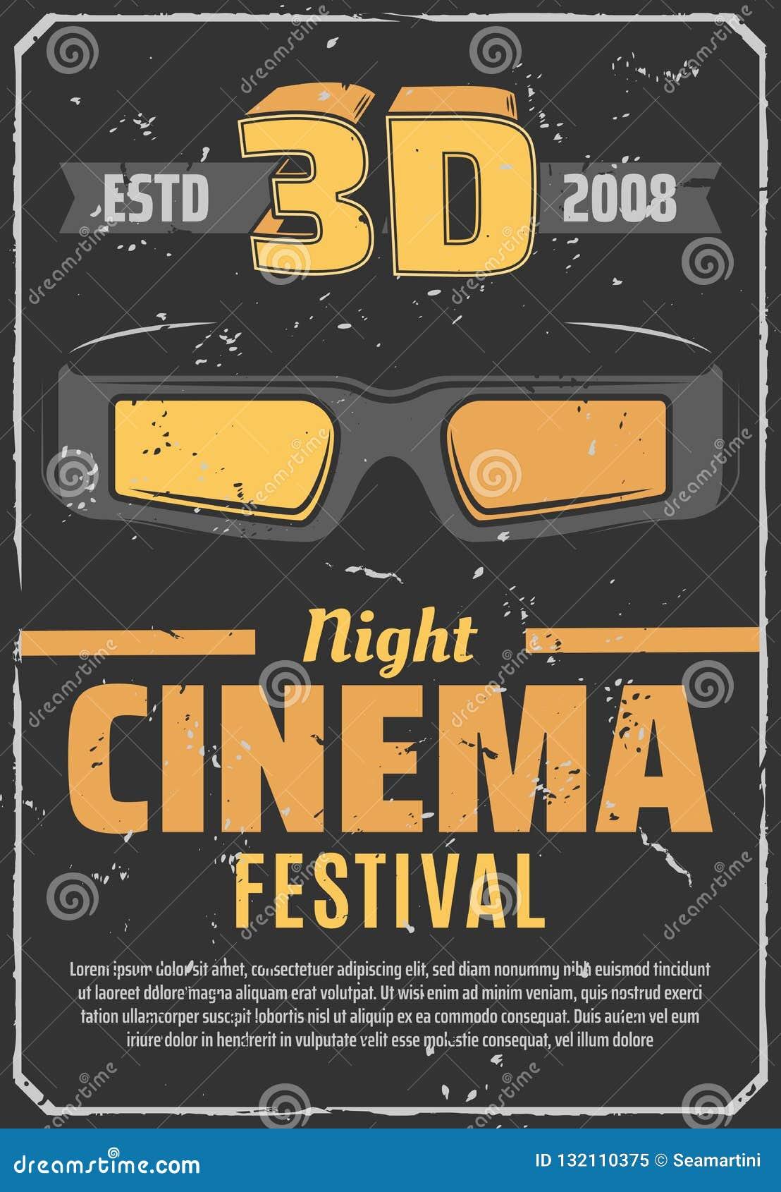 Van het de nachtfestival van de bioskoop 3D film retro affiche