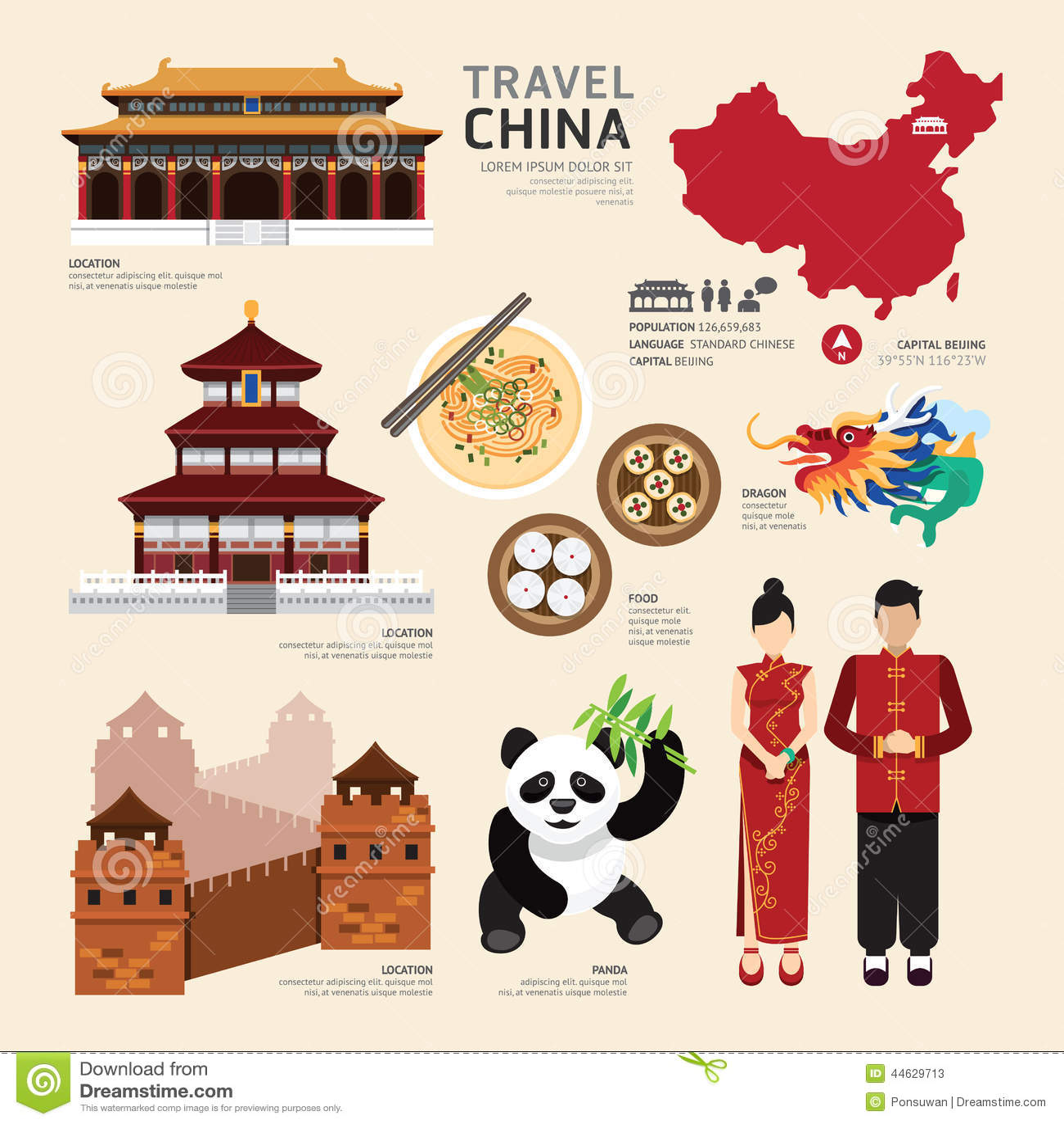 Van het de Pictogrammenontwerp van China Vlak de Reisconcept Vector