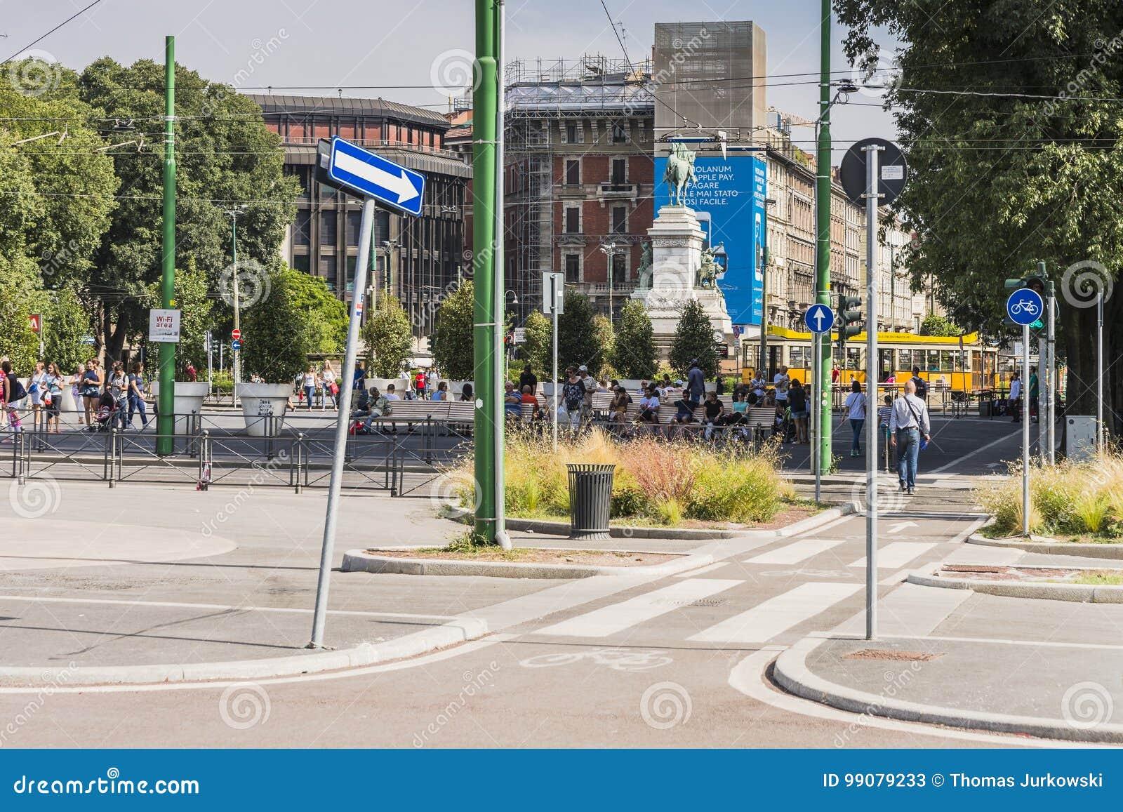Van het de stadscentrum van Milaan de straatmening