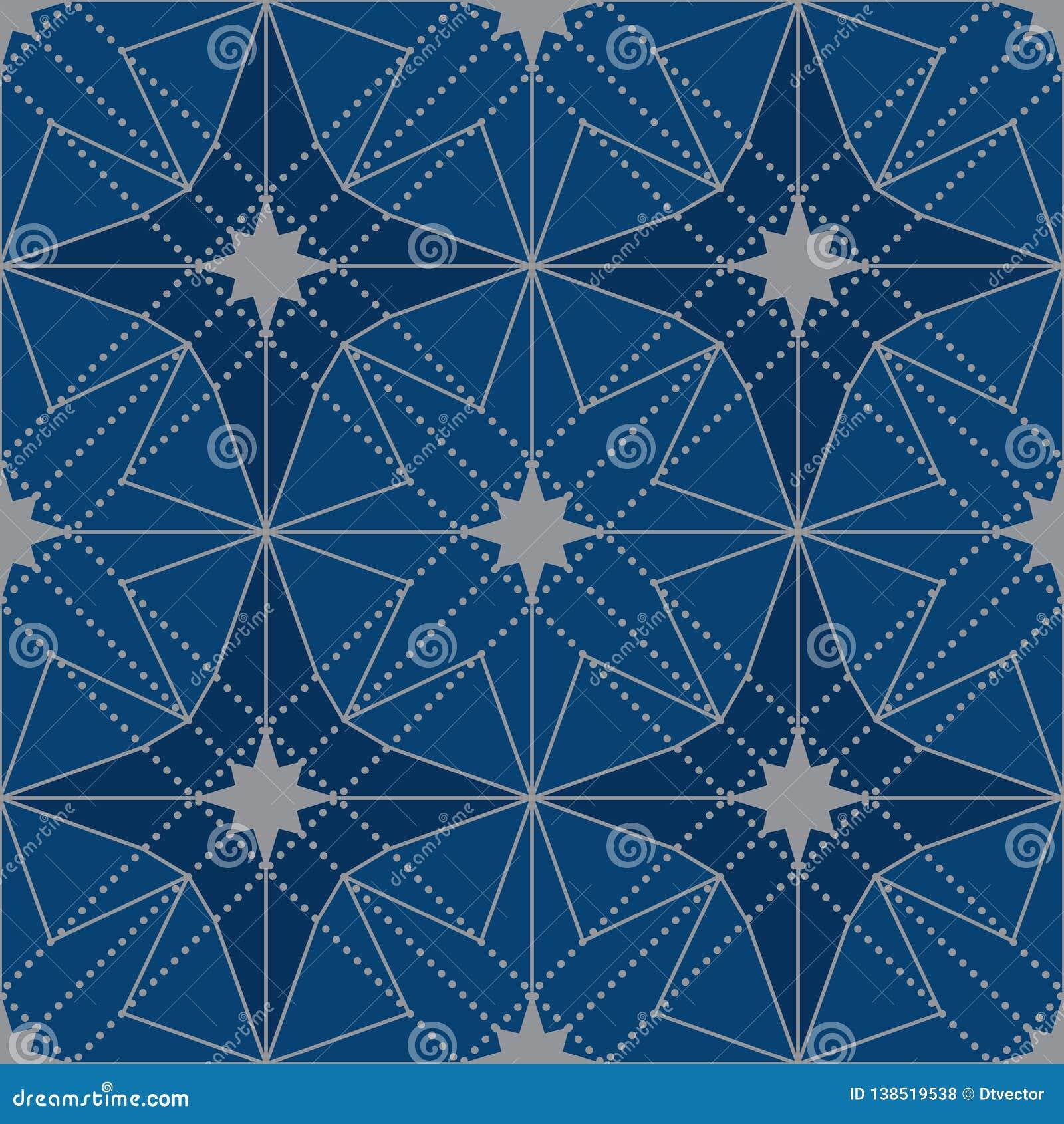Van het de sterontwerp van Japan de symmetrie naadloos patroon