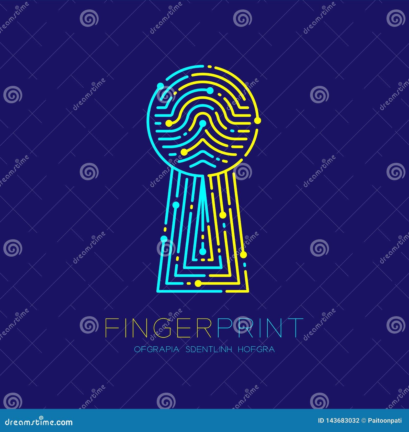 Van het de Vingerafdrukaftasten van de sleutelgatvorm van het het patroonembleem het streepjelijn, digitaal gatewayconcept, Edita