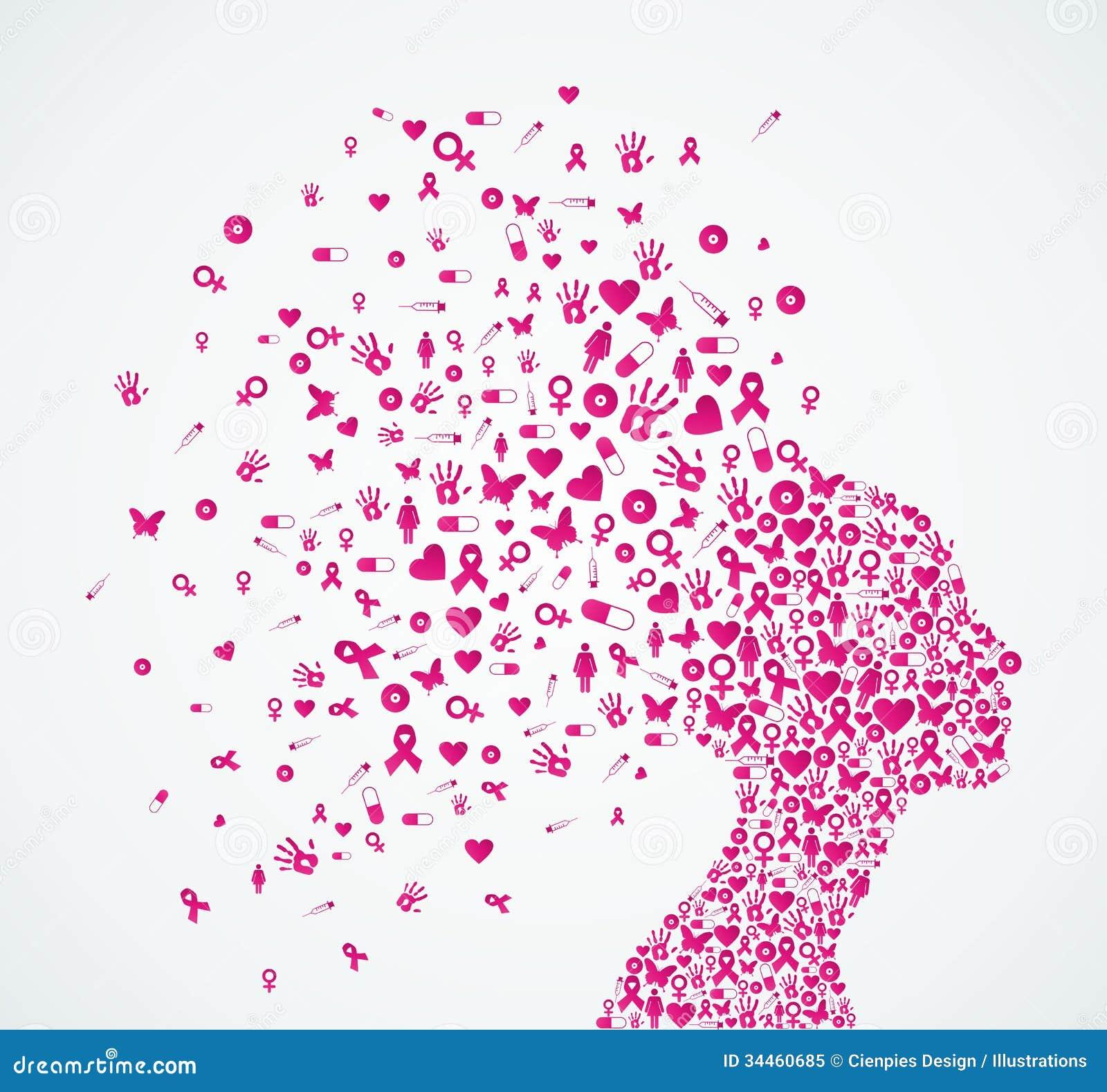 Van het de voorlichtingslint van borstkanker de vrouwenhoofd composit