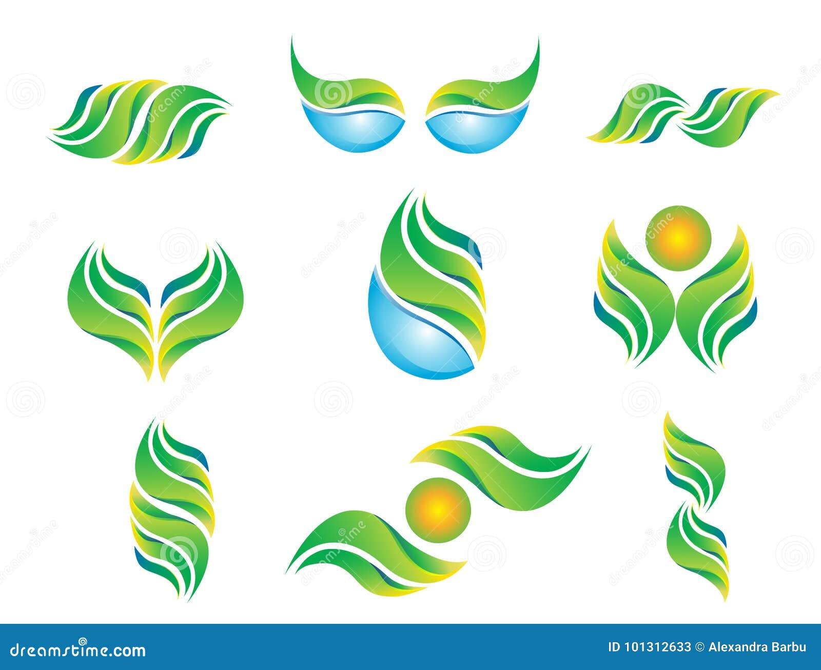 Van het de zonsymbool van het waterblad van het het pictogram de vastgestelde embleem van de de installatielente abstracte vector