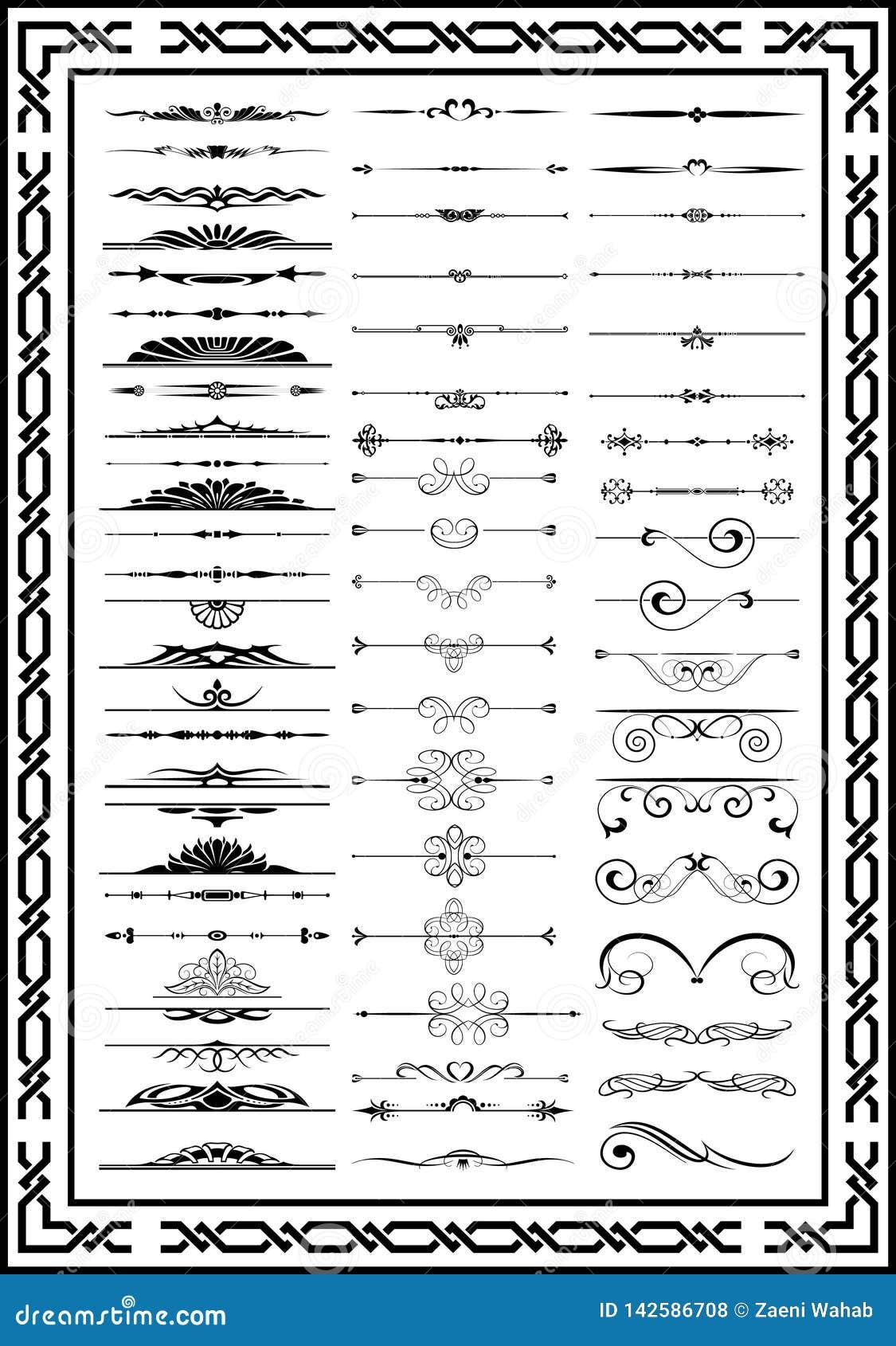 Van het decorelementen van Nice de vastgestelde kalligrafische zwarte kleur