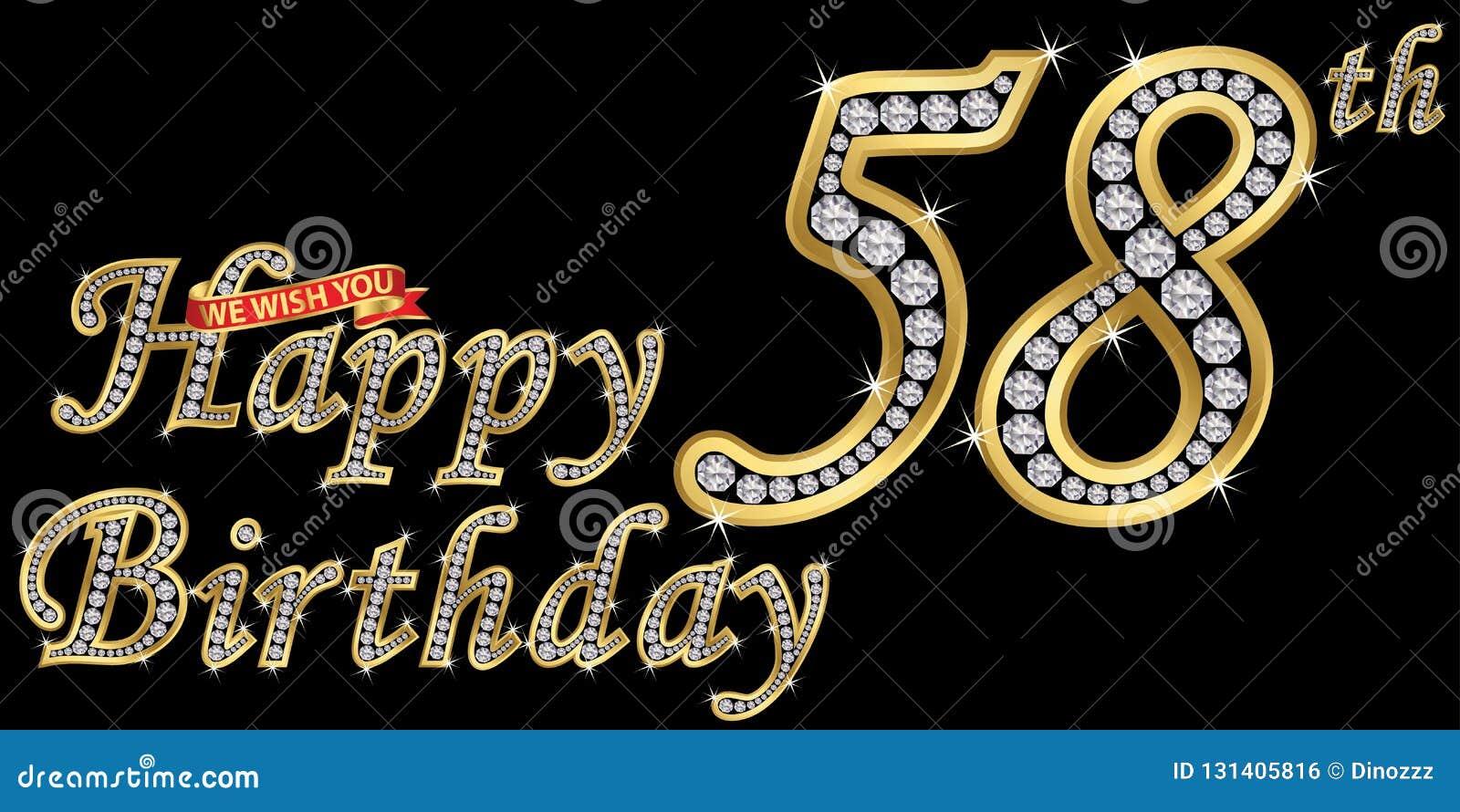 58 van het gelukkige verjaardags gouden jaar teken met diamanten, vectorillustratie