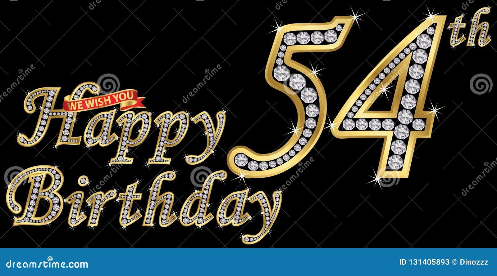 54 van het gelukkige verjaardags gouden jaar teken met diamanten, vectorillustratie