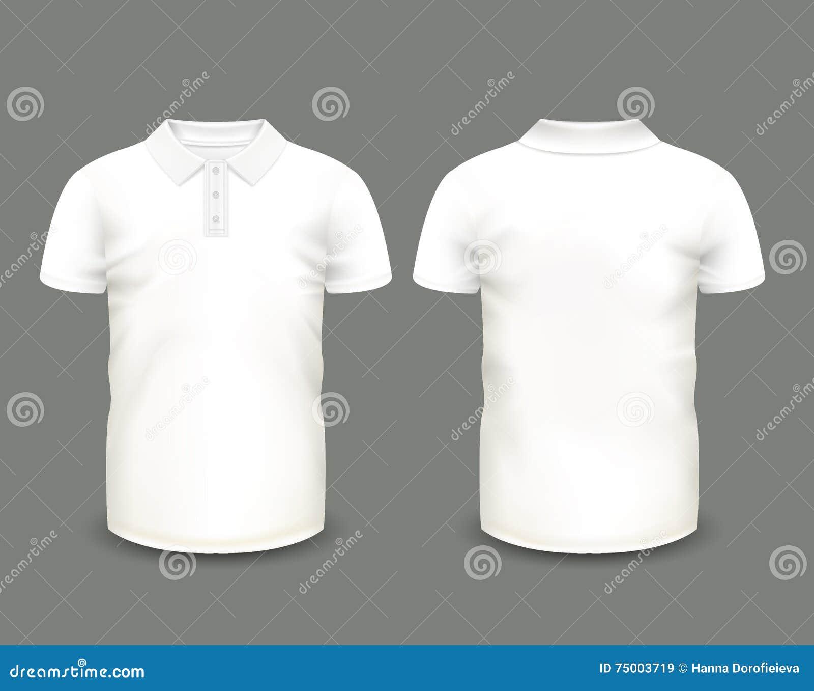 Van het het polooverhemd van mensen de witte korte koker in voor en achtermeningen Vector Malplaatje Volledig editable met de han