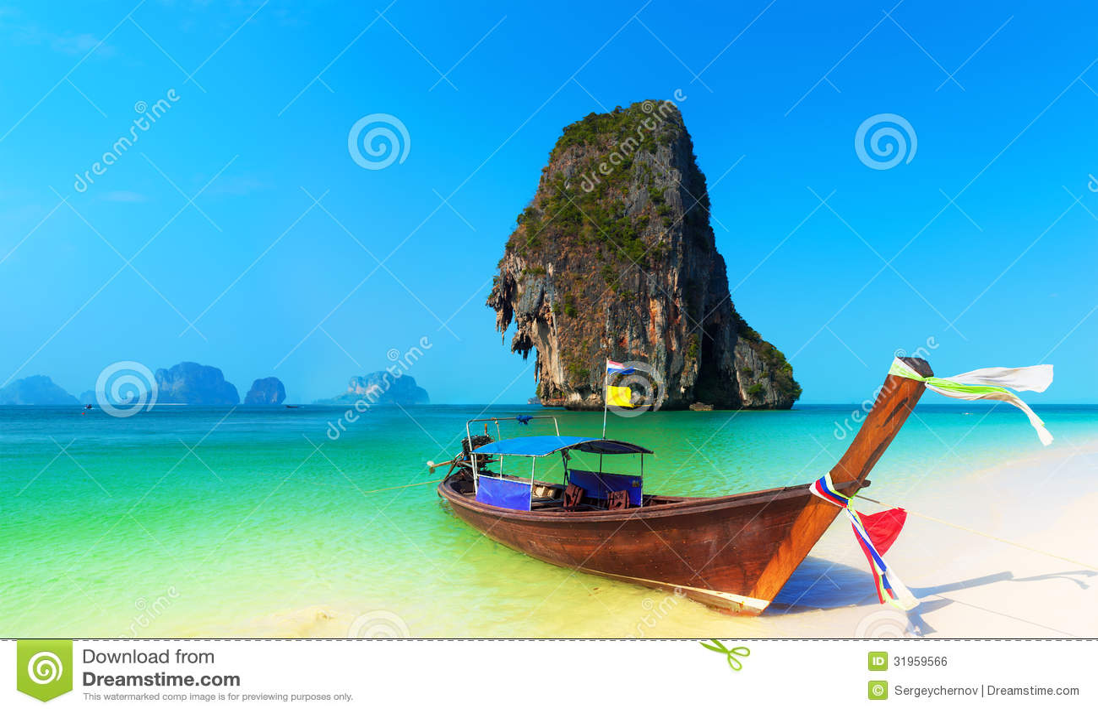 Van het het strandlandschap van Thailand de tropische achtergrond. De oceaanaard van Azië