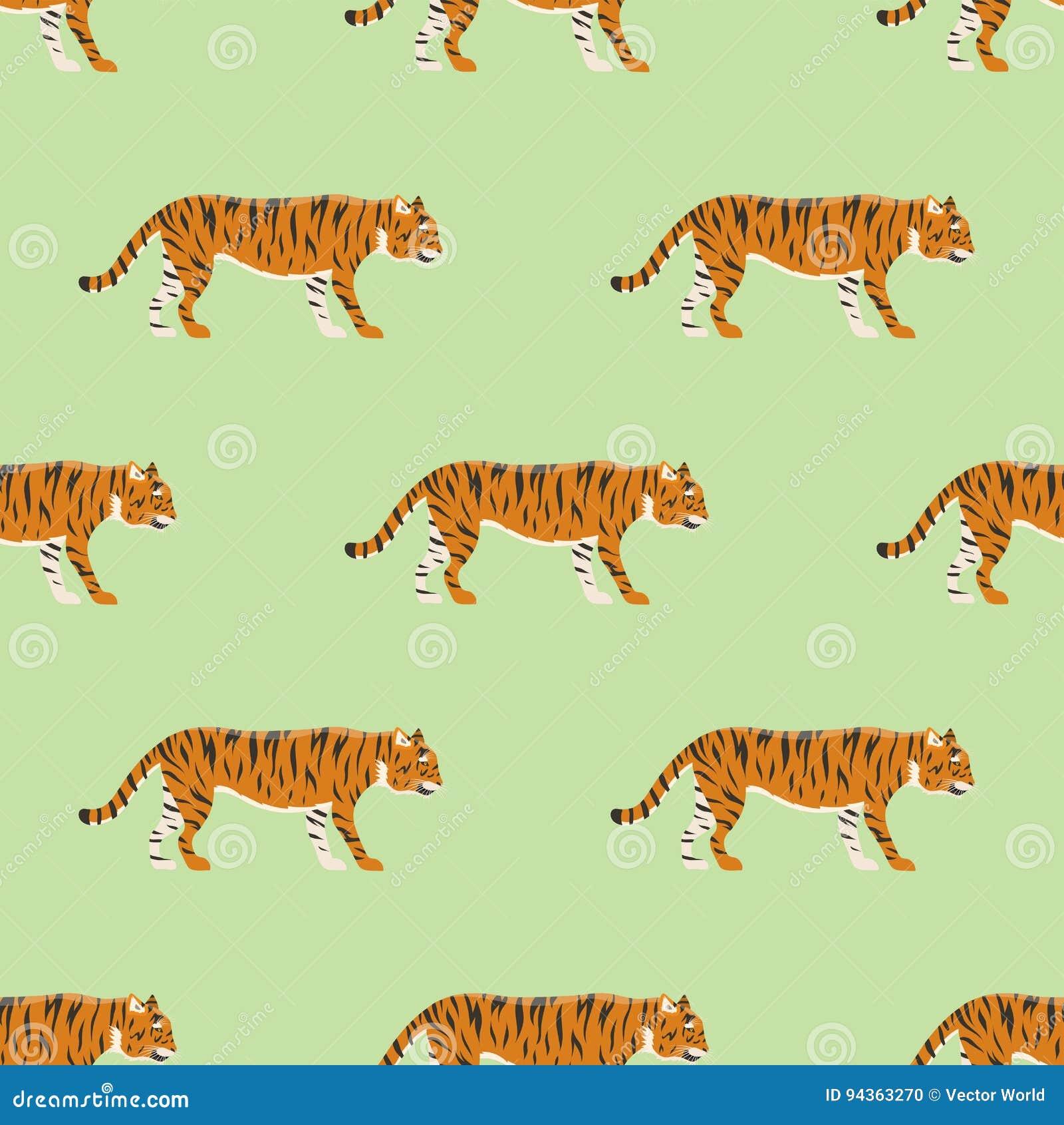 Van het het wild dierlijke gevaar van de tijgeractie van het het zoogdier naadloze patroon van het bont wilde Bengalen onbetrouwb