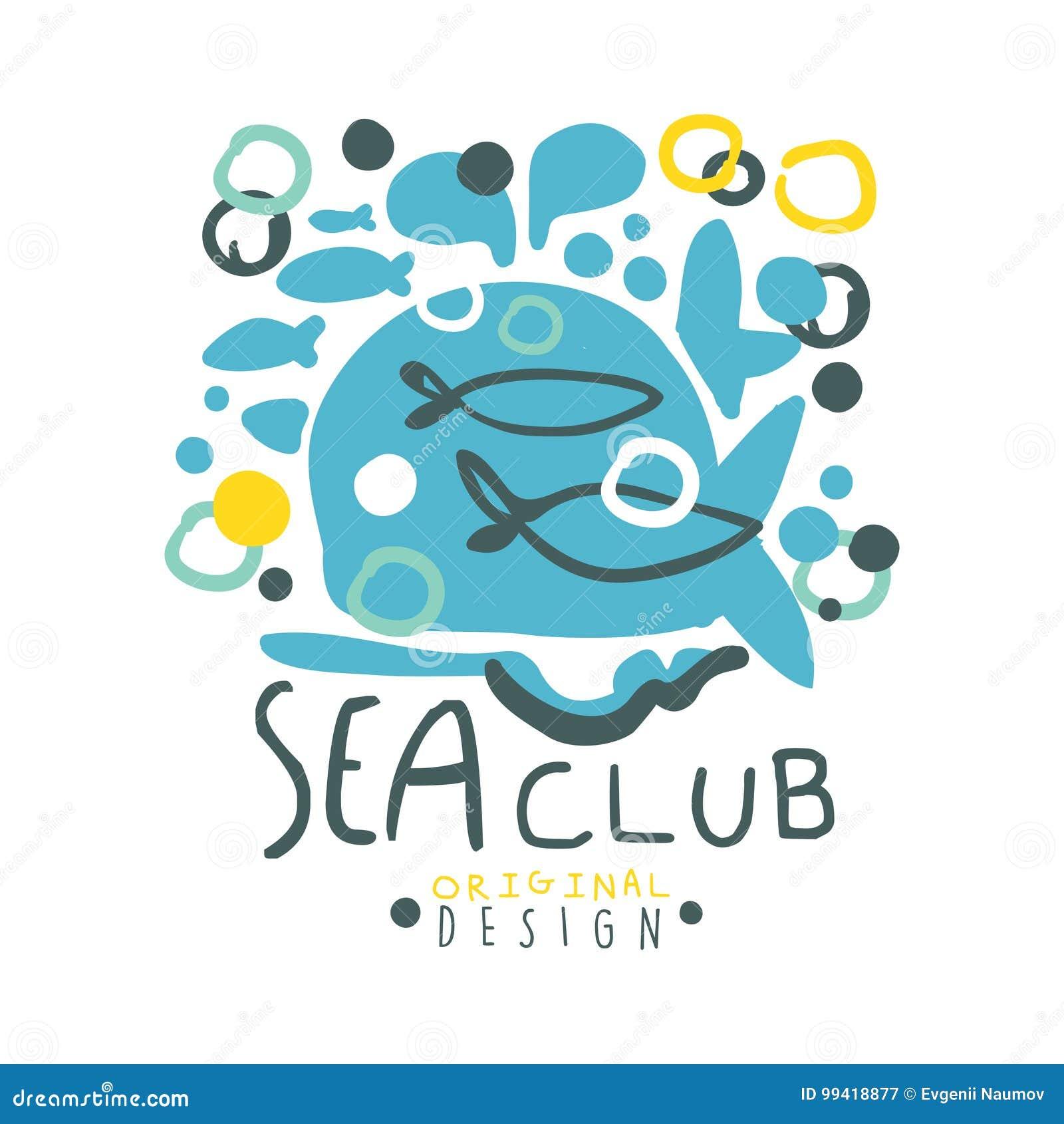 Van het overzeese het originele ontwerp clubembleem, de zomerreis en sporthand getrokken kleurrijke vectorillustratie