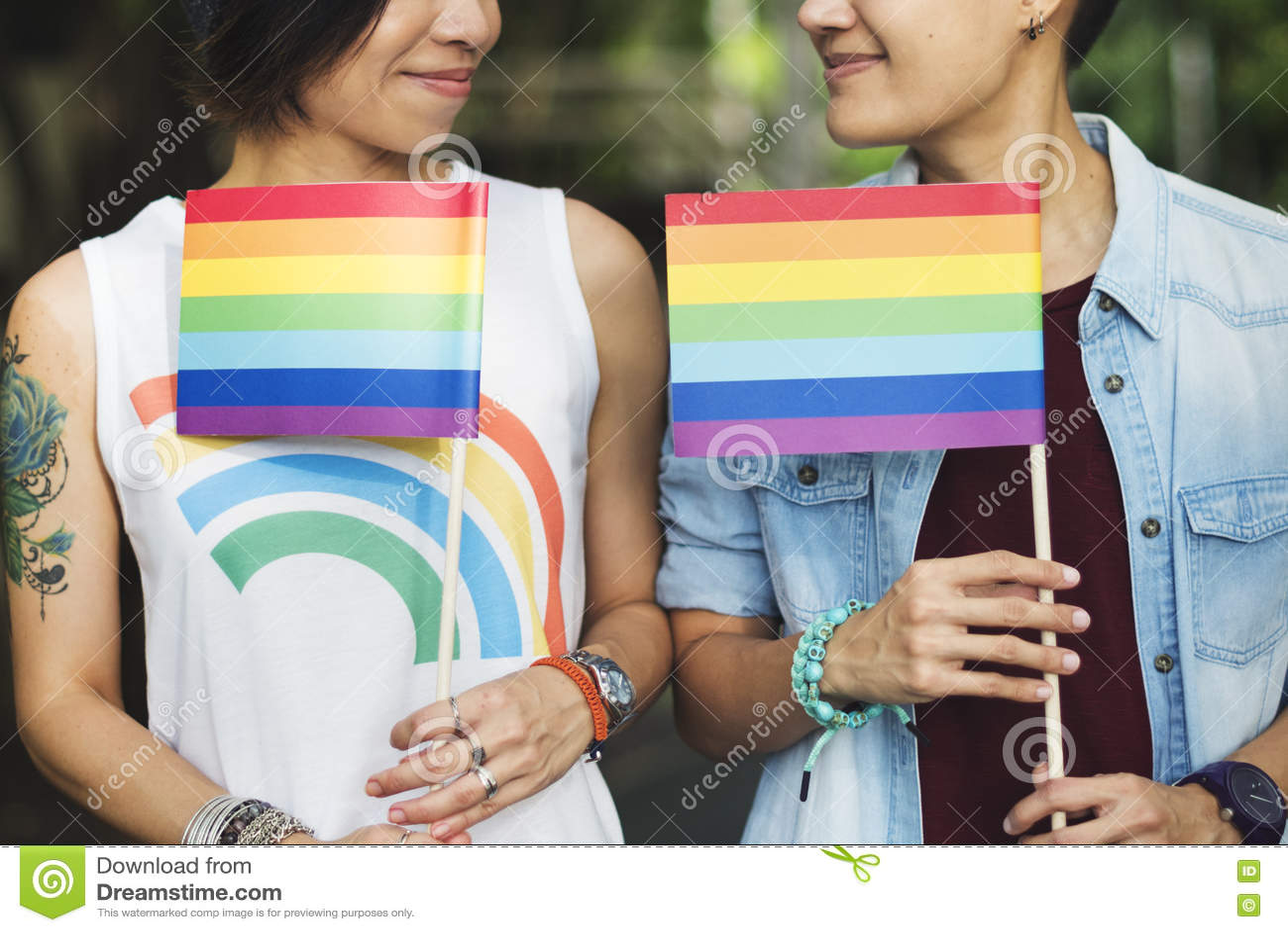 Van het Paarogenblikken van LGBT Lesbisch het Gelukconcept