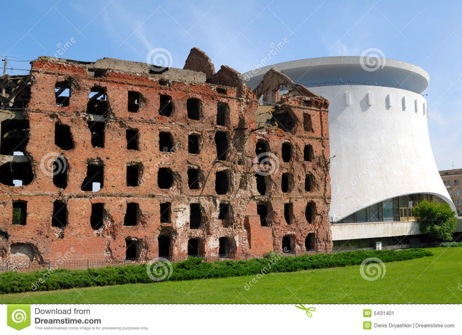 Van het panoramaStalingrad van het museum de Vernietigde molen Volgograd strijd