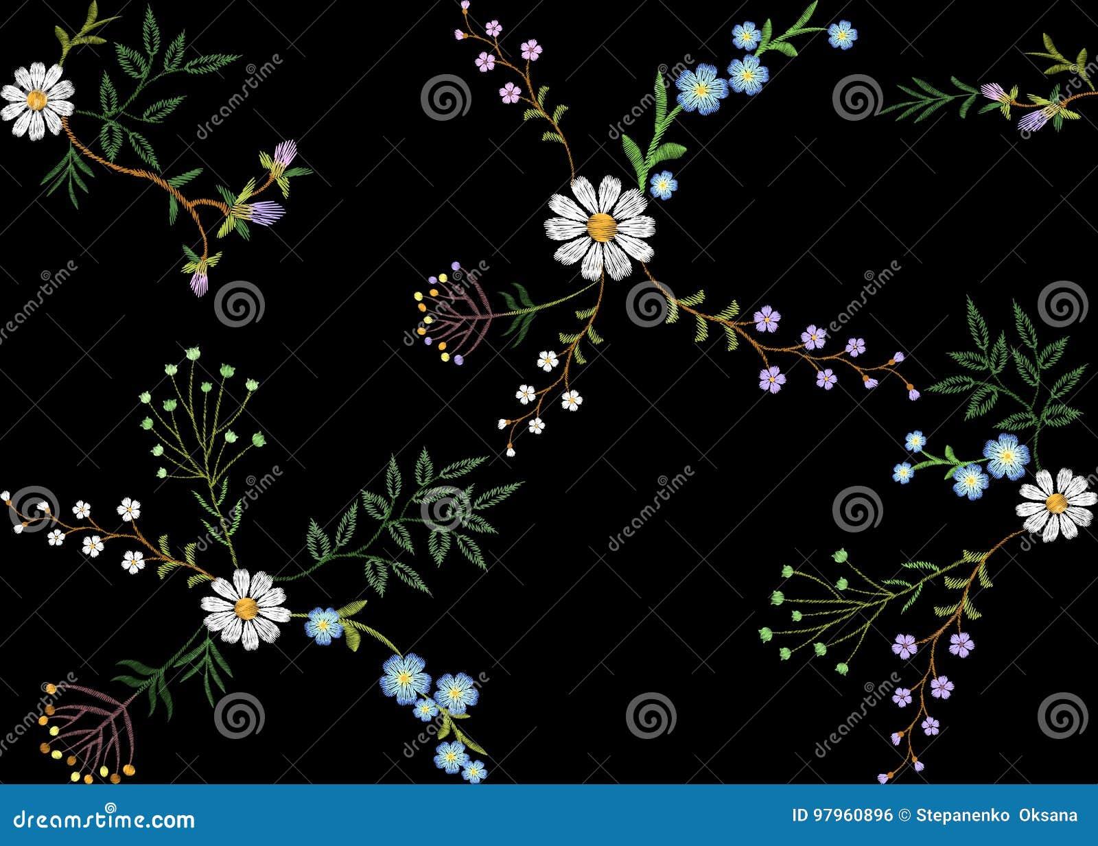 Van het patroon klein takken van de borduurwerktendens bloemen naadloos het kruidblad met weinig blauwe violette kamille van het