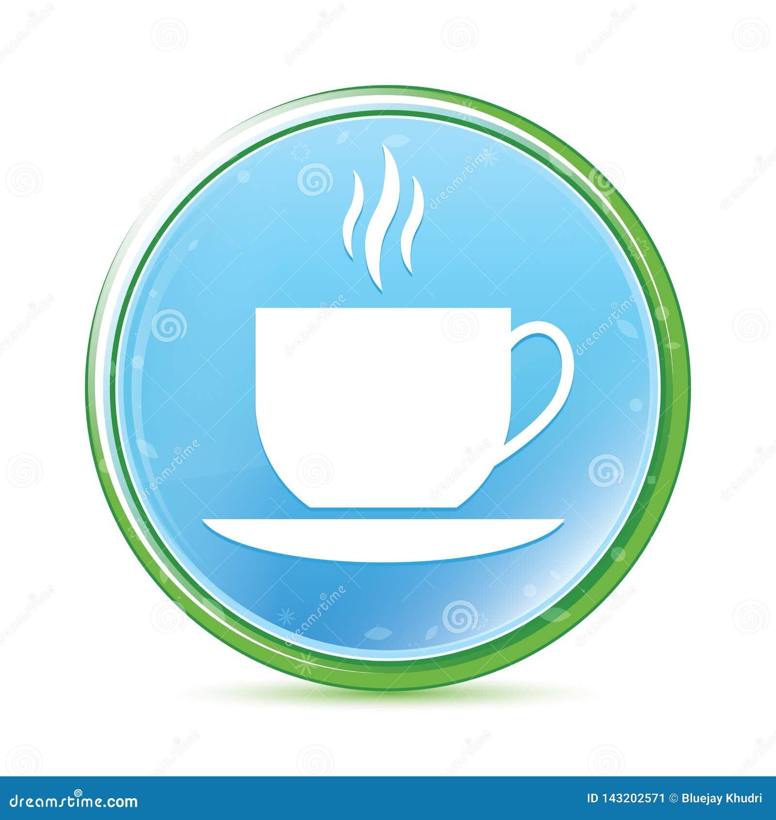 Van het pictogram de natuurlijke aqua van de koffiekop cyaan blauwe ronde knoop