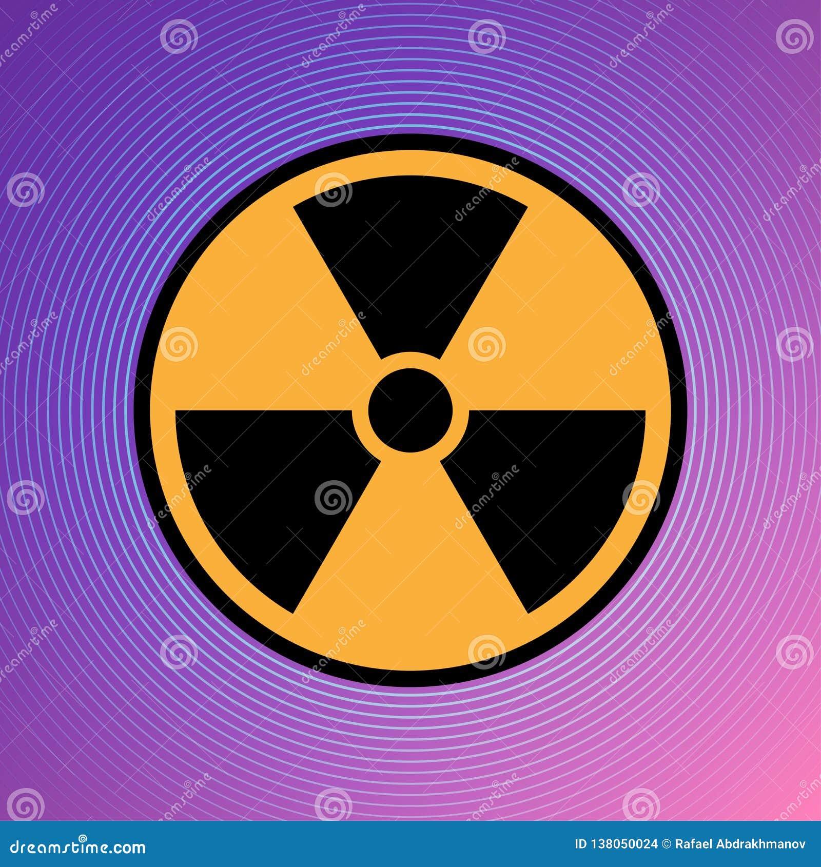Van het het pictogram radioactieve teken van het gevaarsgevaar de kern van het de aandachtsuranium atoomillustratie vectoreps 10