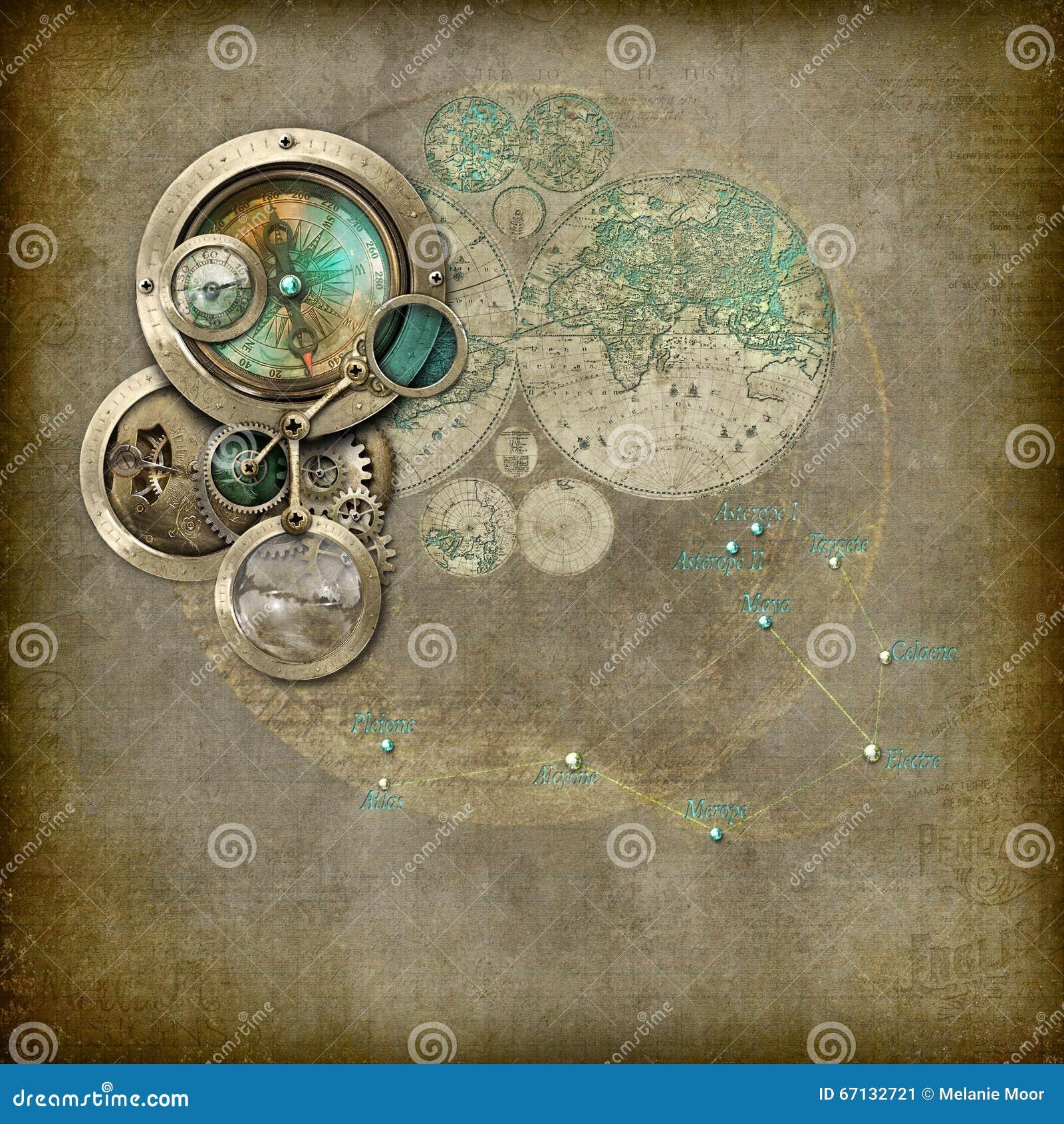 Van Het Steampunkastrologiekompas Apparaat Stock Illustratie