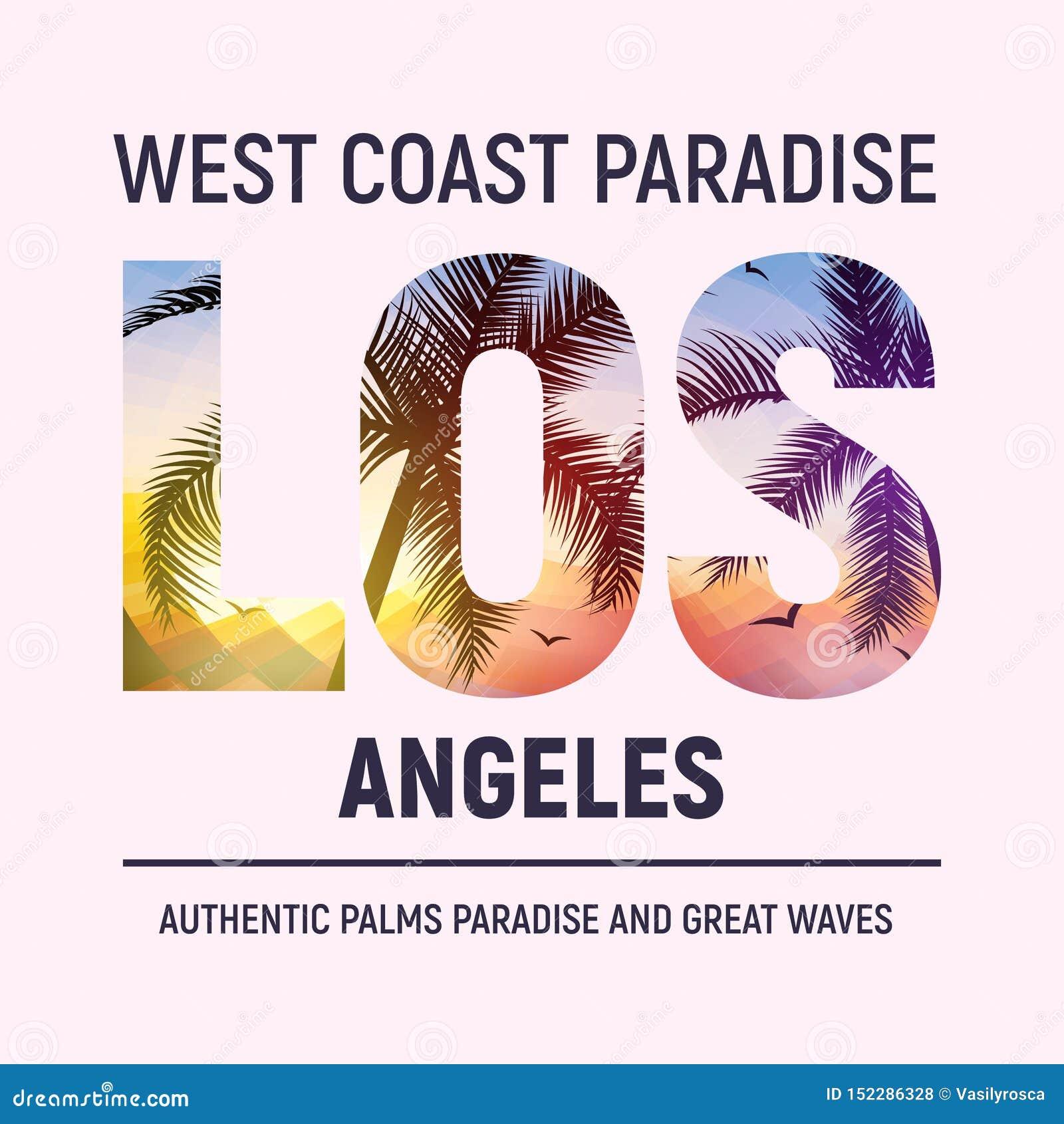 Van het het strand de grafische ontwerp van Californi? Los Angeles typografie van de de t-shirtdruk De zomer van de de stadsillus