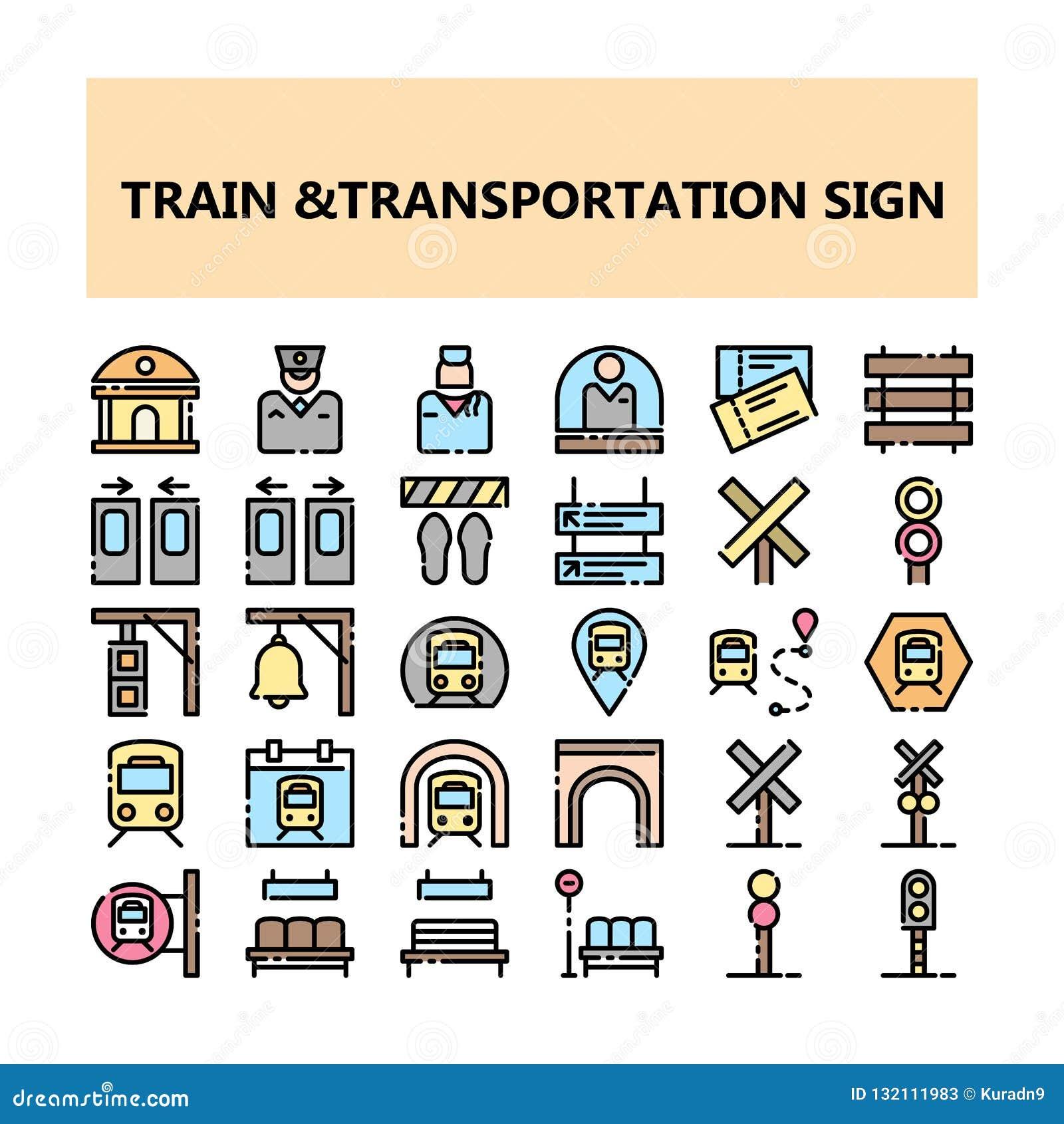 Van het het tekenpixel van het treinvervoer de perfecte die pictogrammen in Gevulde Overzichtsstijl worden geplaatst