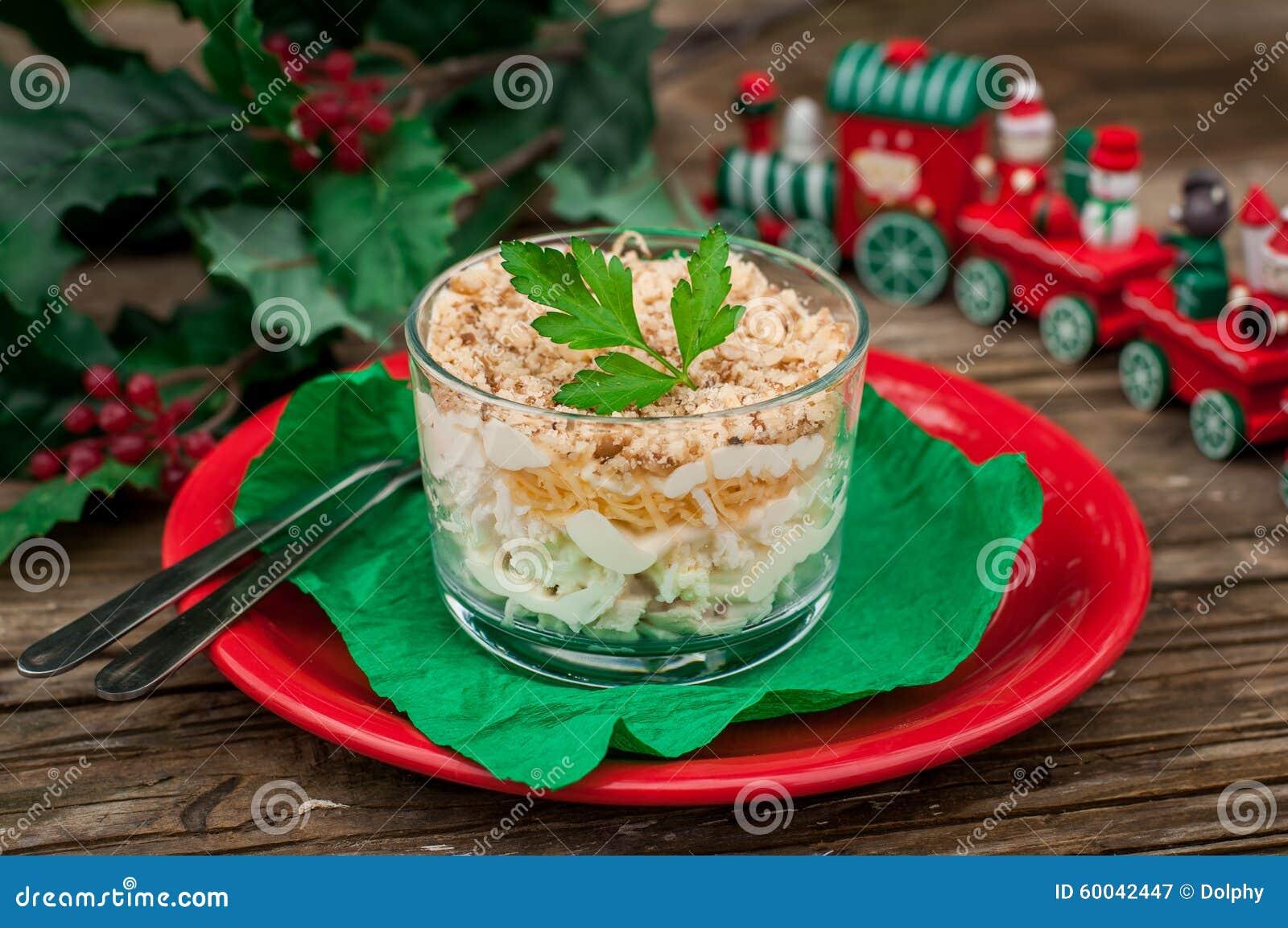 Van het van de van Kerstmiskip, Apple, Kaas en Ei Salade Gelaagd met Mayo
