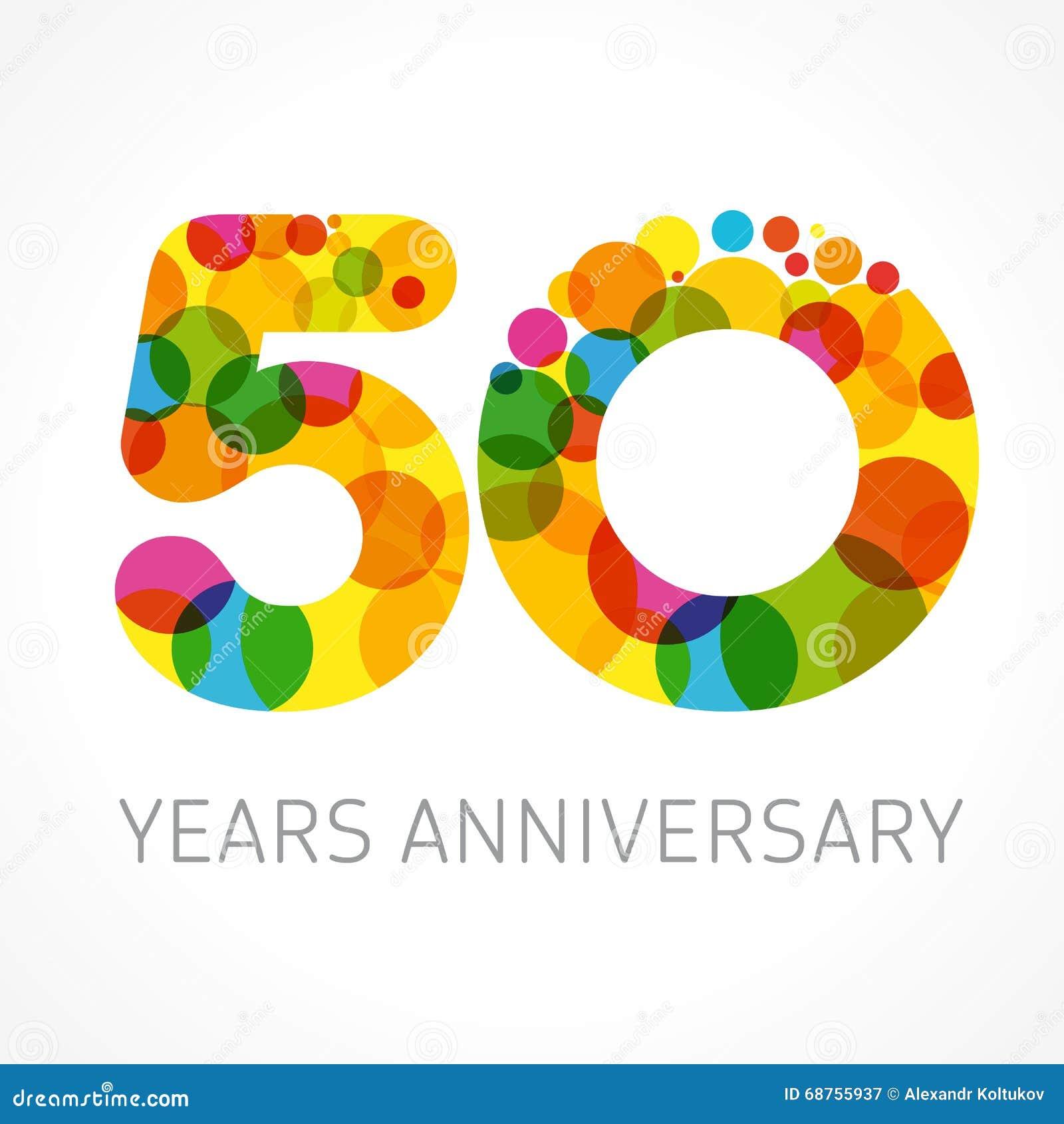 50 van het verjaardagscirkel gekleurde jaar embleem