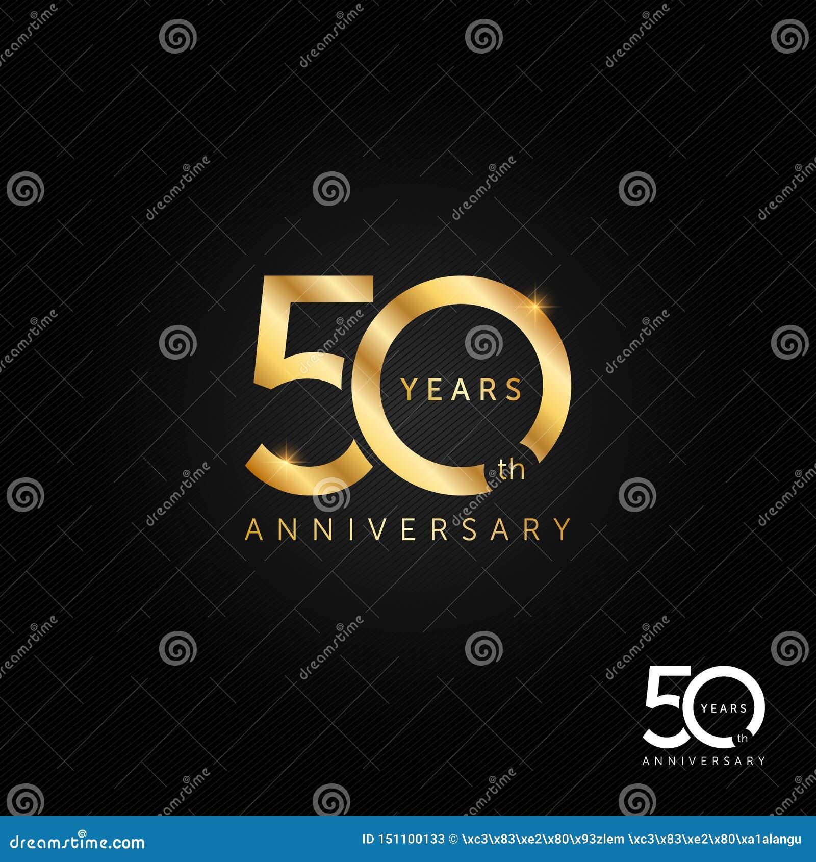 50 van het verjaardagsjaar embleem, pictogram en symbool vectorillustratie, vieringsconcept