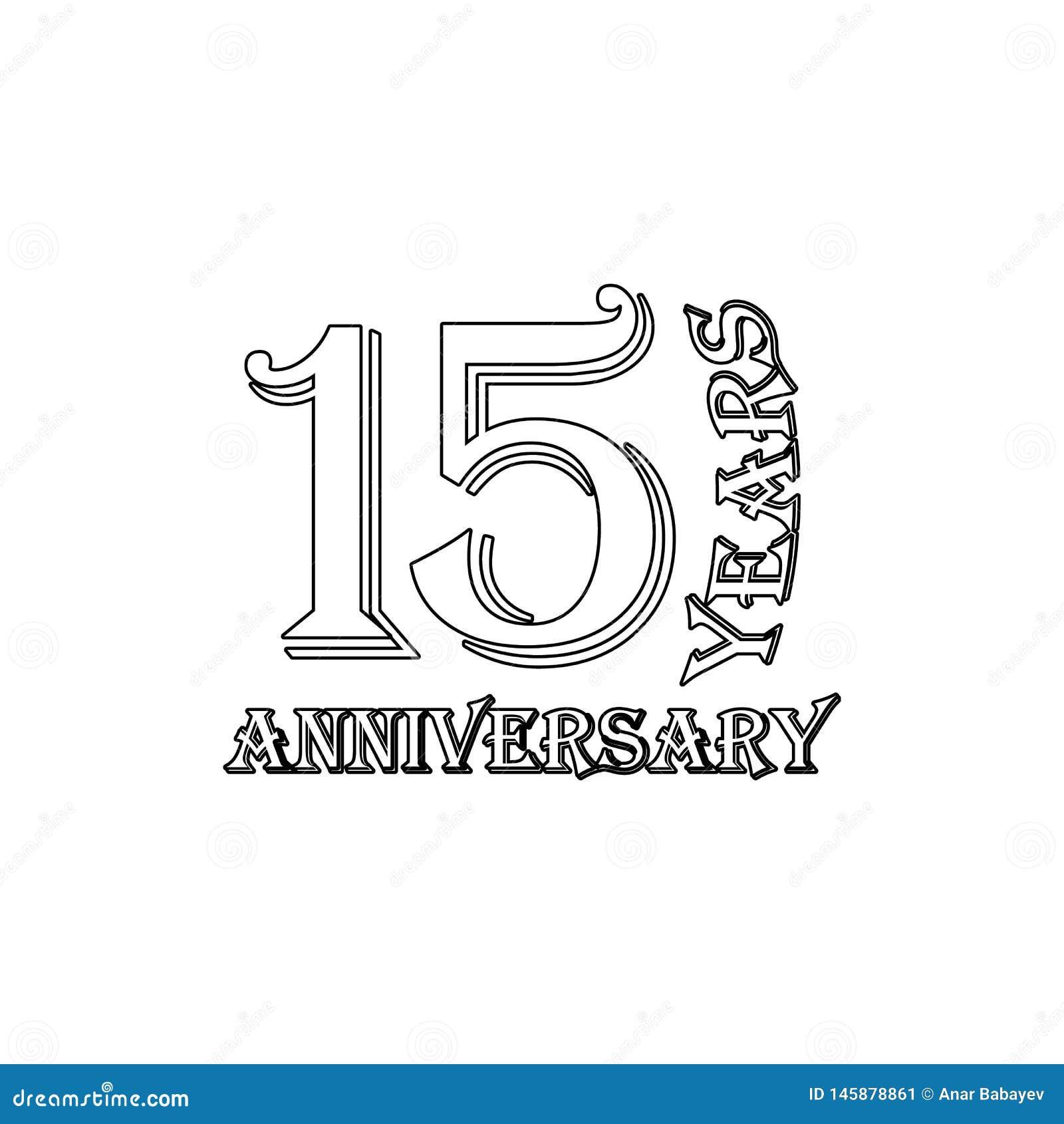 15 van het verjaardagsjaar teken Element van verjaardagsillustratie Grafisch het ontwerppictogram van de premiekwaliteit tekens e