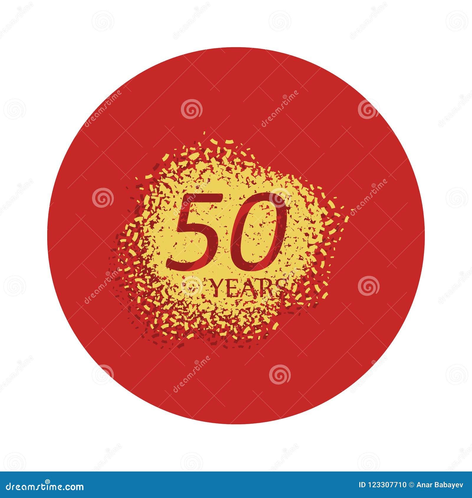 50 van het verjaardagsjaar teken Element van verjaardagsteken Grafisch het ontwerppictogram van de premiekwaliteit in kentekensti