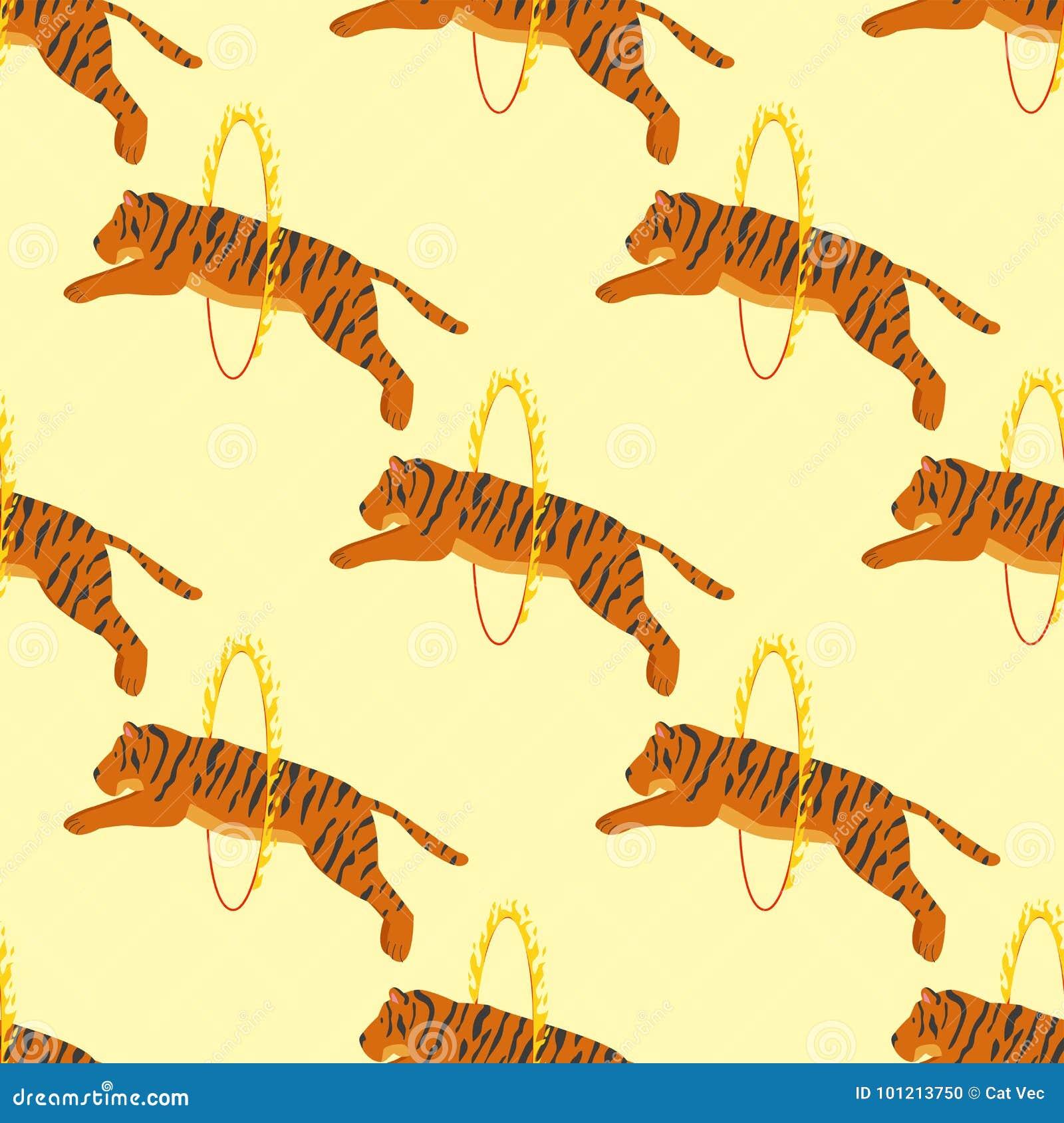 Van het het wild dierlijke gevaar van de tijgeractie van het het circus naadloze patroon van het het zoogdierbont onbetrouwbare h