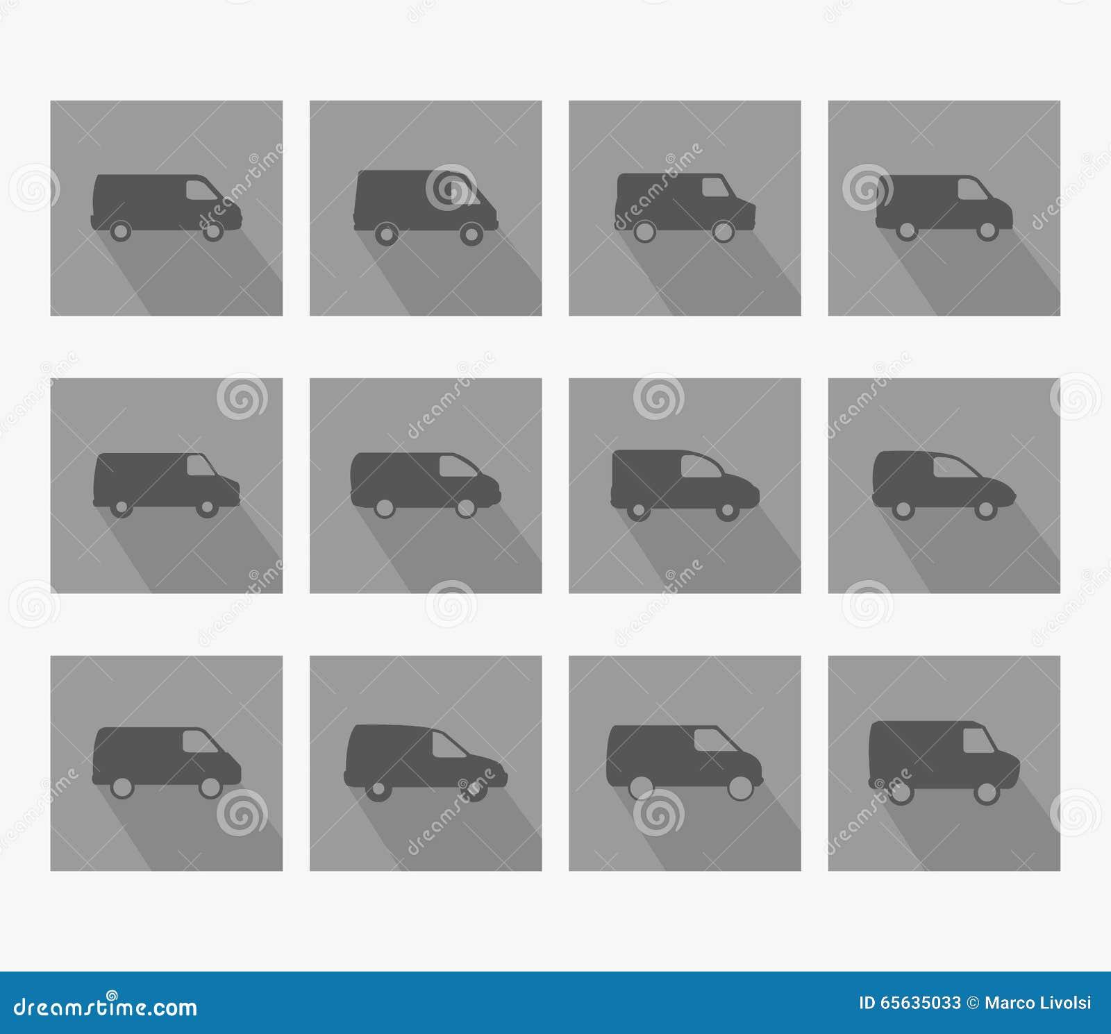 Van icons illustrée dans la conception plate