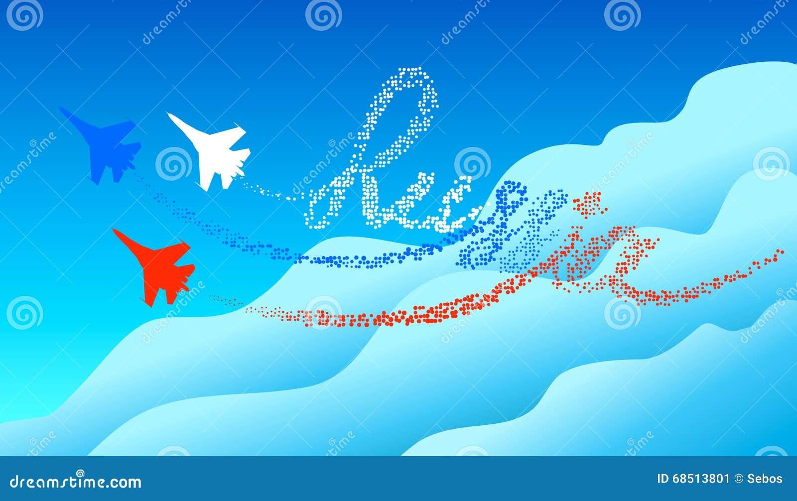 Van letters voorziend Rusland in de blauwe hemel Volgend door silhouetten Russische militaire vliegtuigen Het concept de Russisch