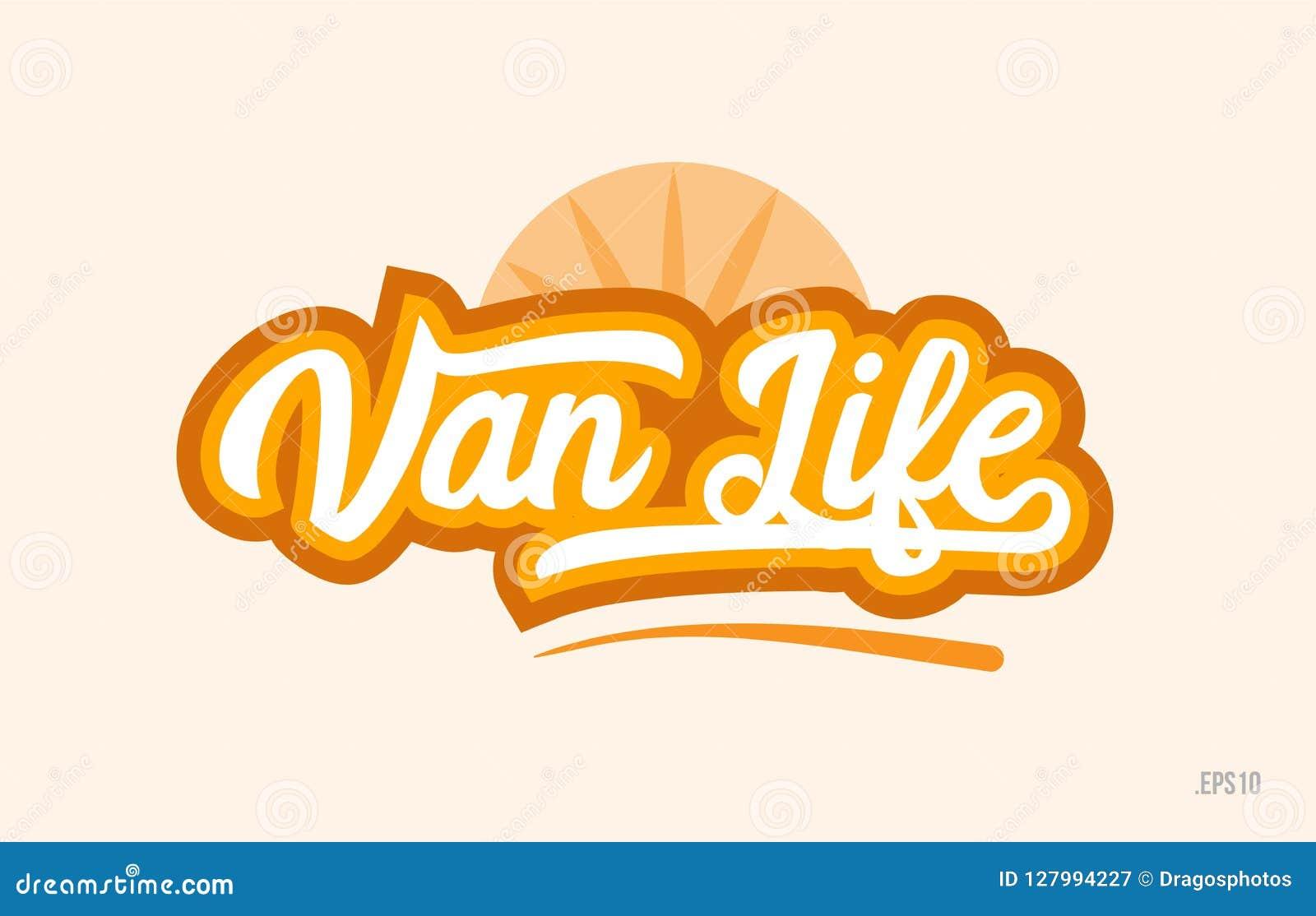 Van life het oranje pictogram van het de tekstembleem van het kleurenwoord