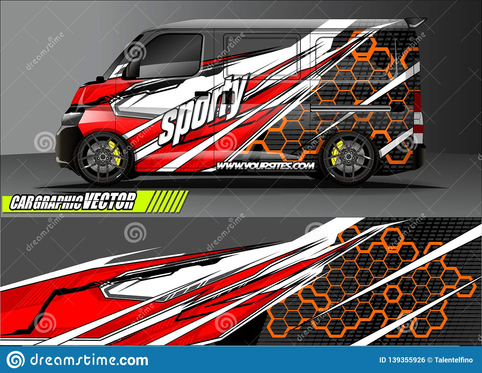 Van livery graphic abstract grunge background design for vehicle vinyl wrap and car branding